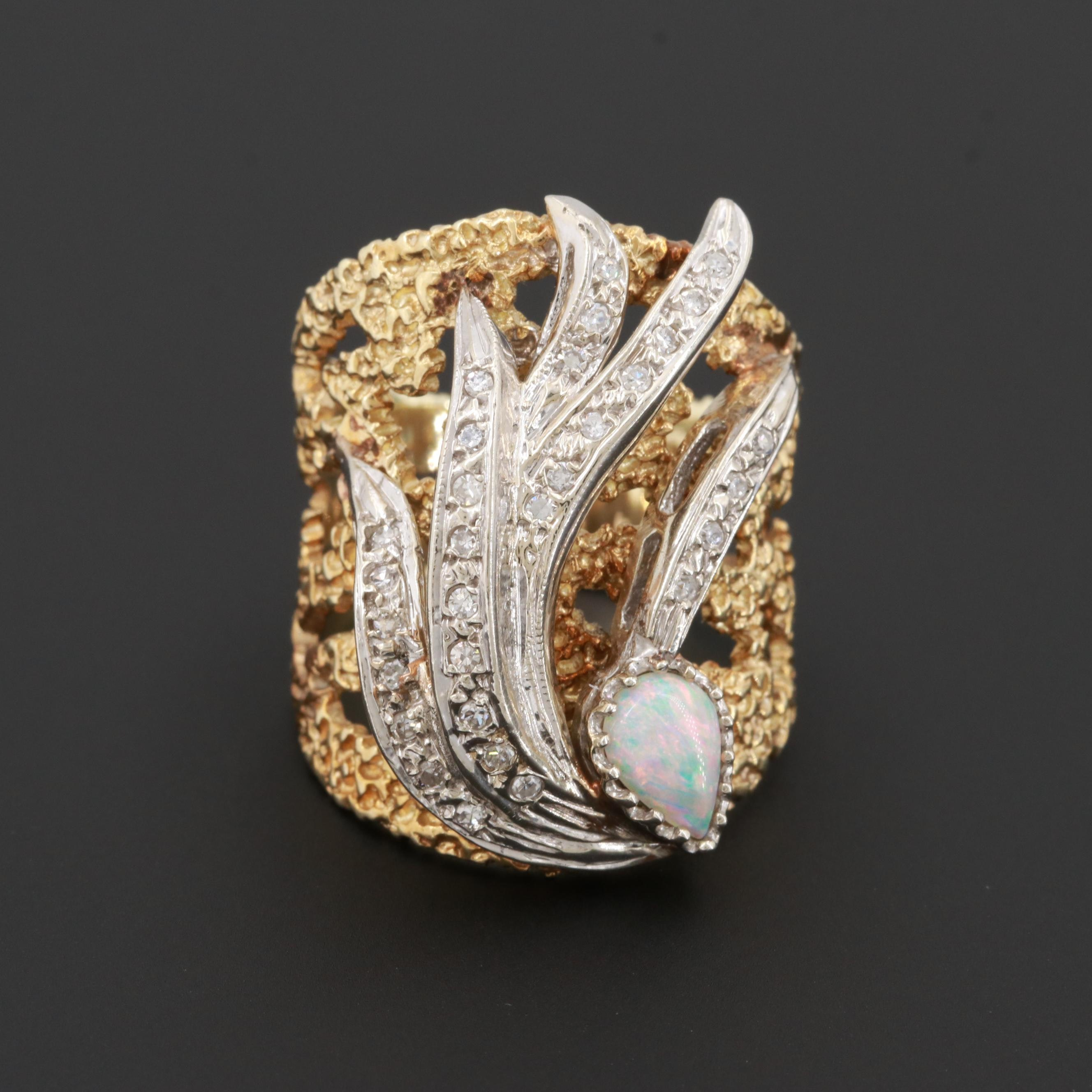 14K Yellow Gold Opal and Diamond Ring with White Gold Feathers
