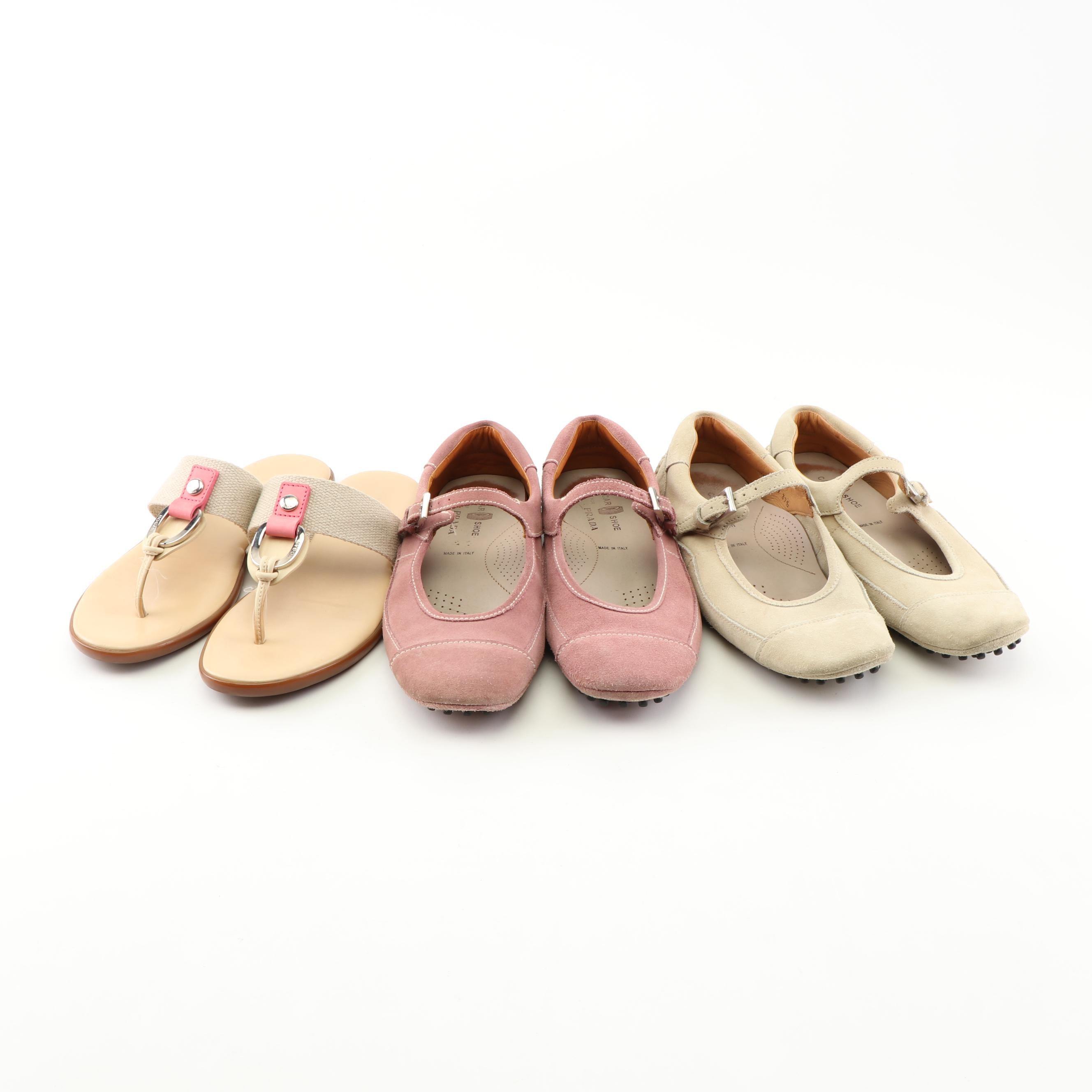 The Car Shoe for Prada Suede Flats and Hogan Thongs