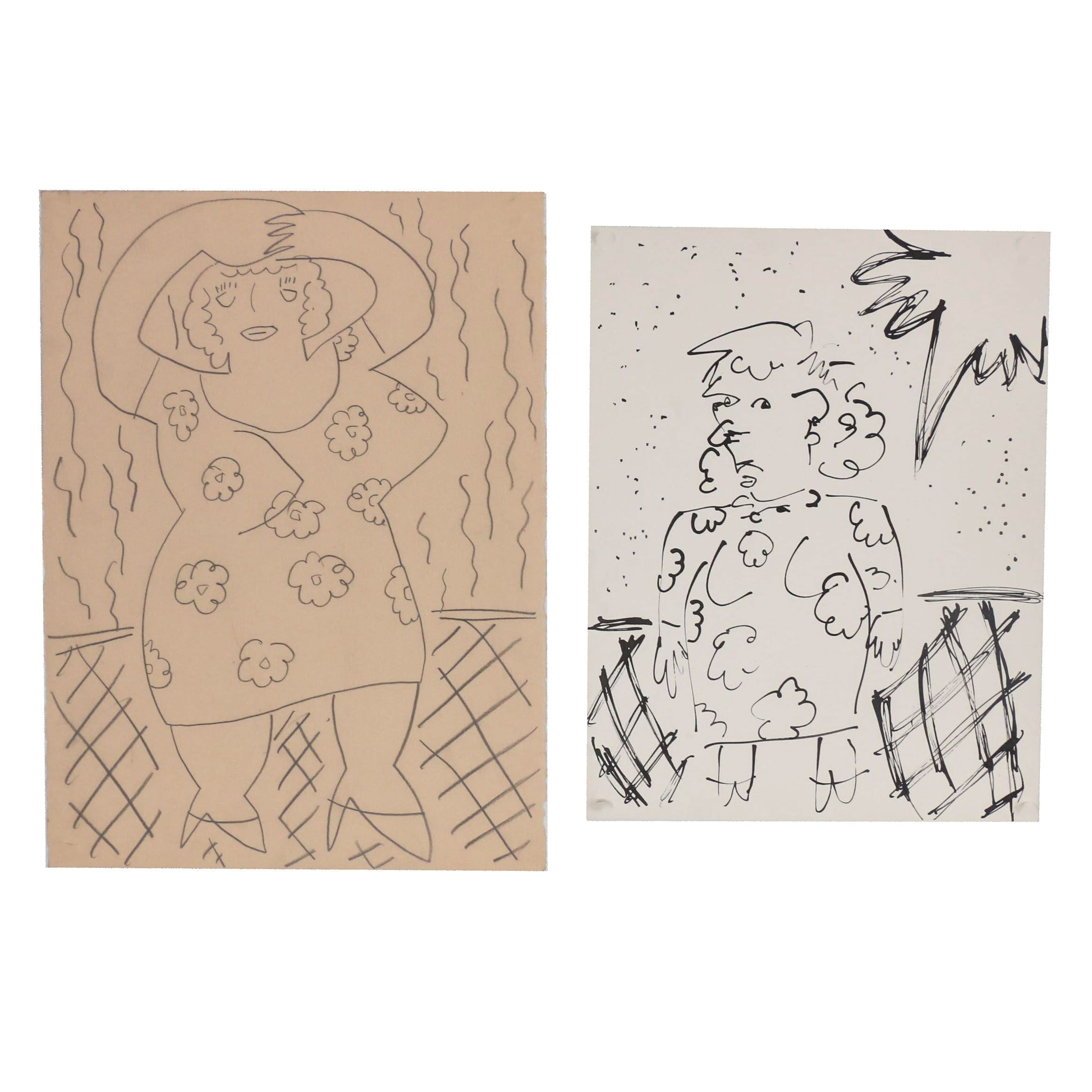 Merle Rosen Mixed Media Drawings of Abstract Figures