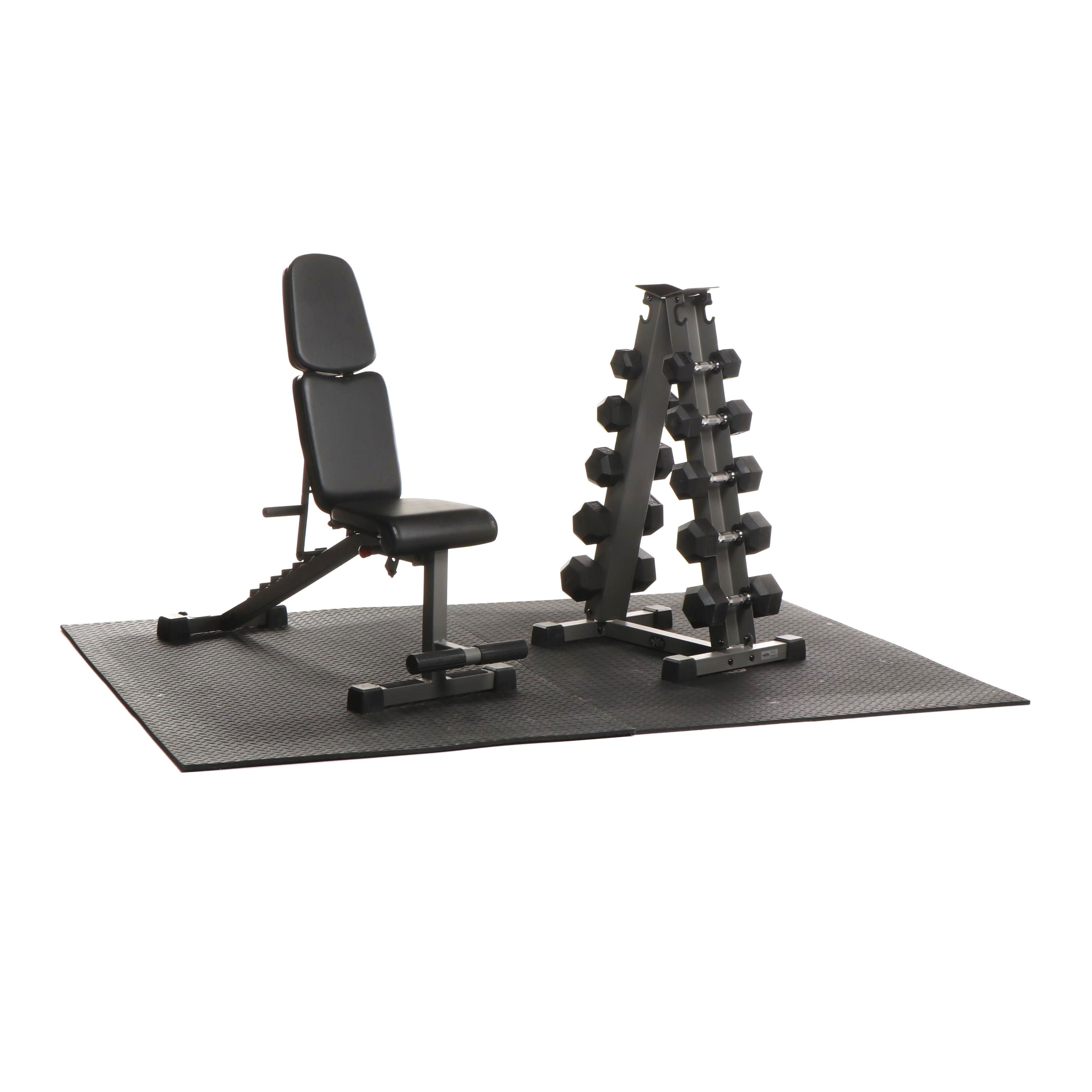At Home Gym Equipment Featuring Xmark Bench, Weights, and Mat