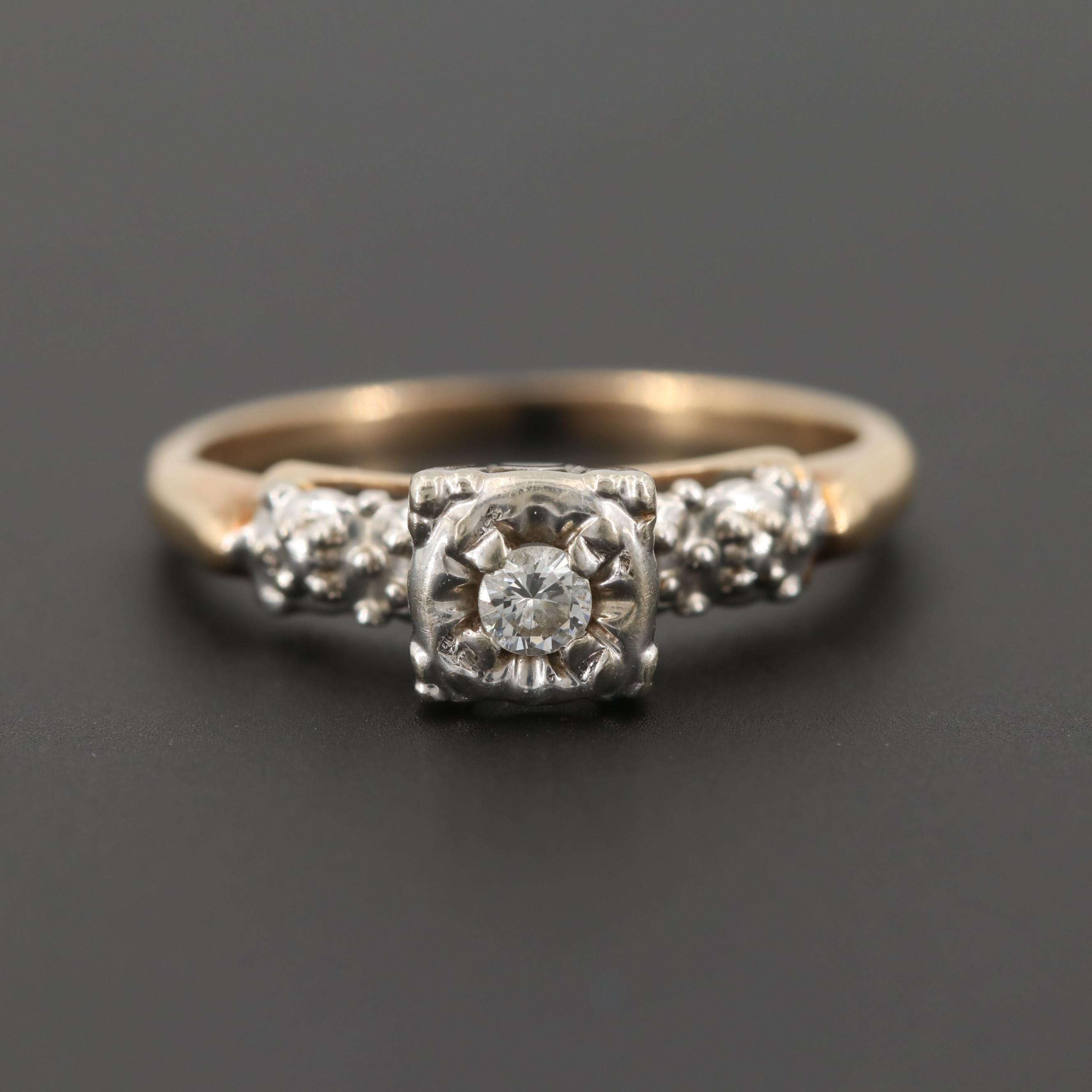 14K Yellow Gold Diamond Ring with White Gold Accents