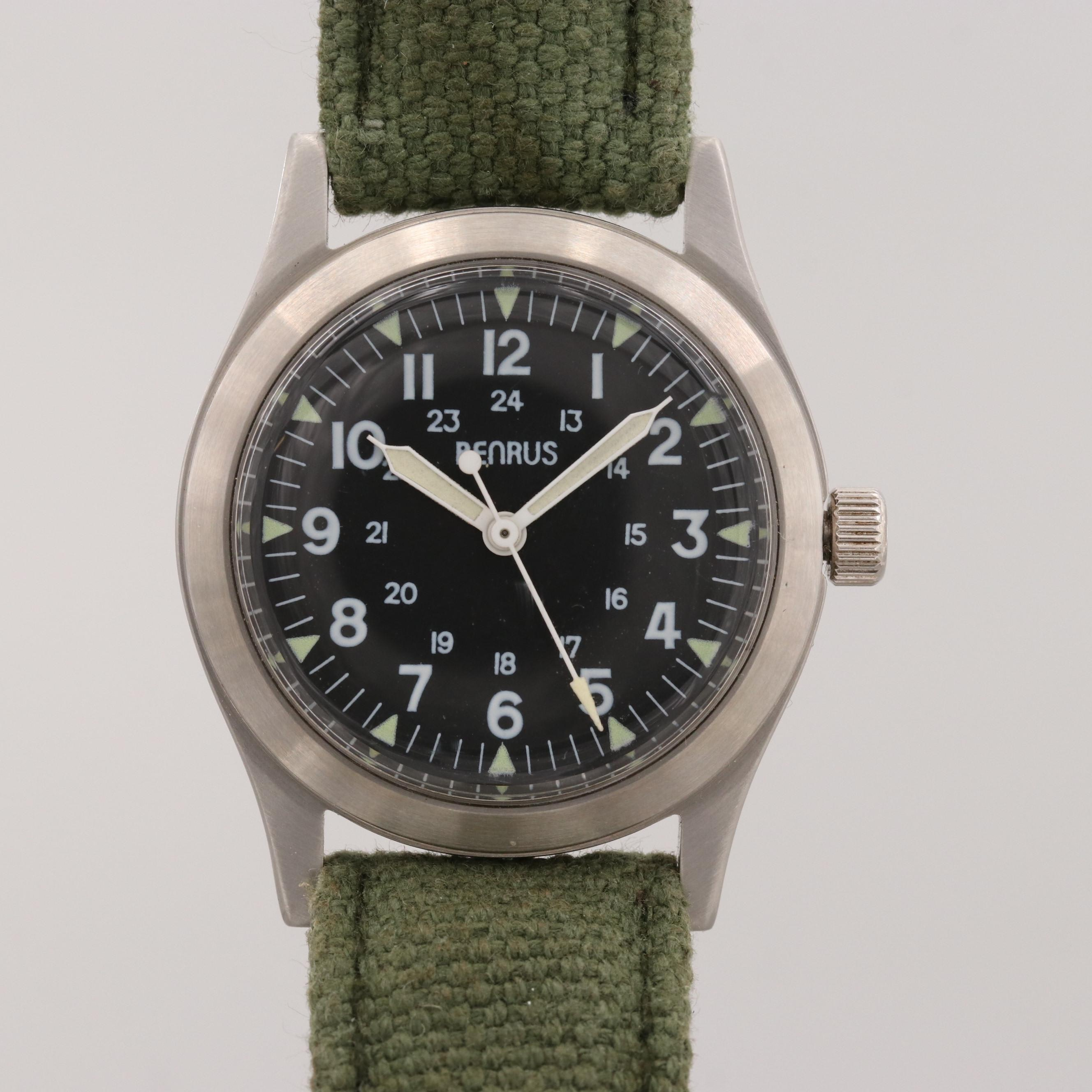 Benrus Stainless Steel Stem Wind Commemorative Military Wristwatch Re-Issue
