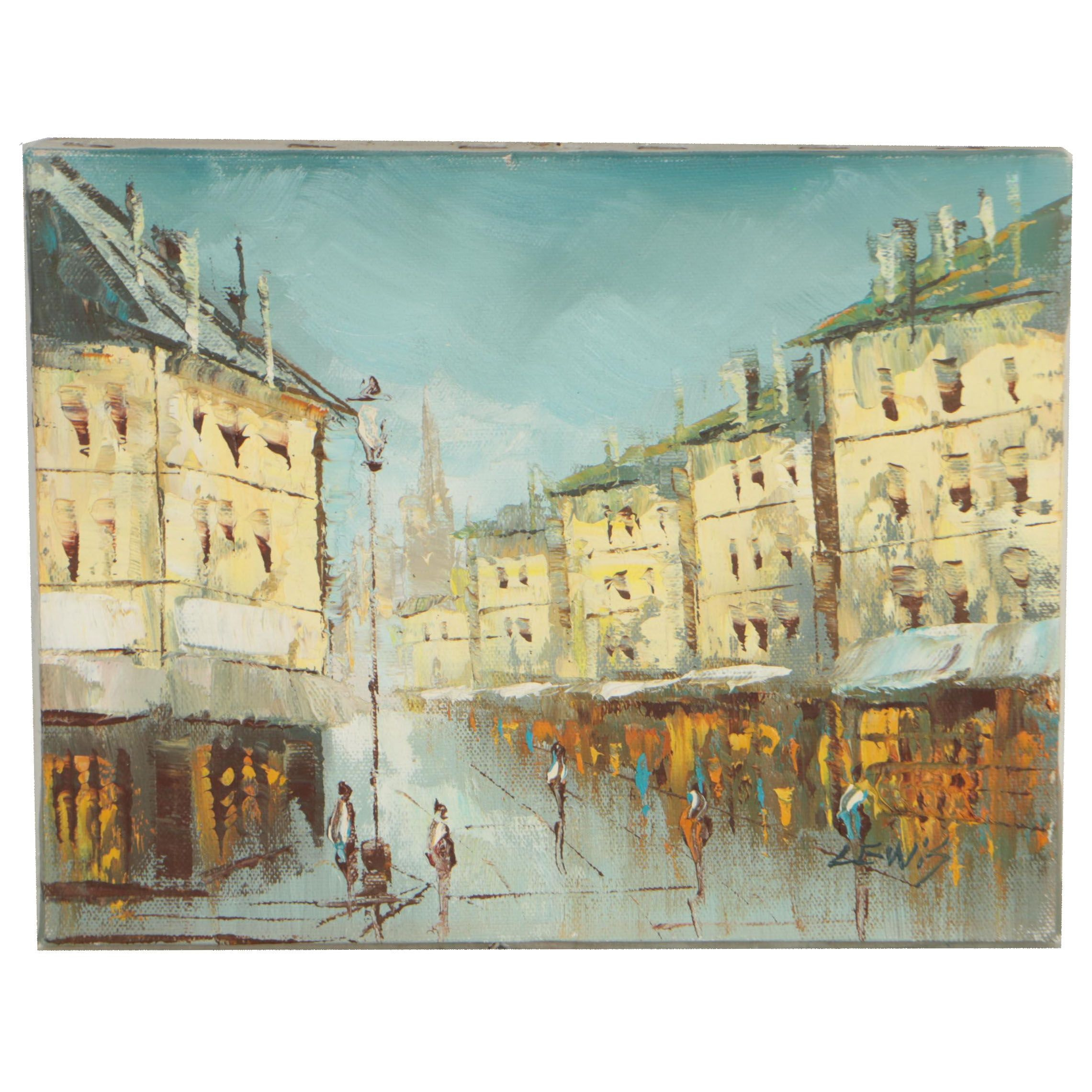 Lewis Oil Painting Abstract Cityscape