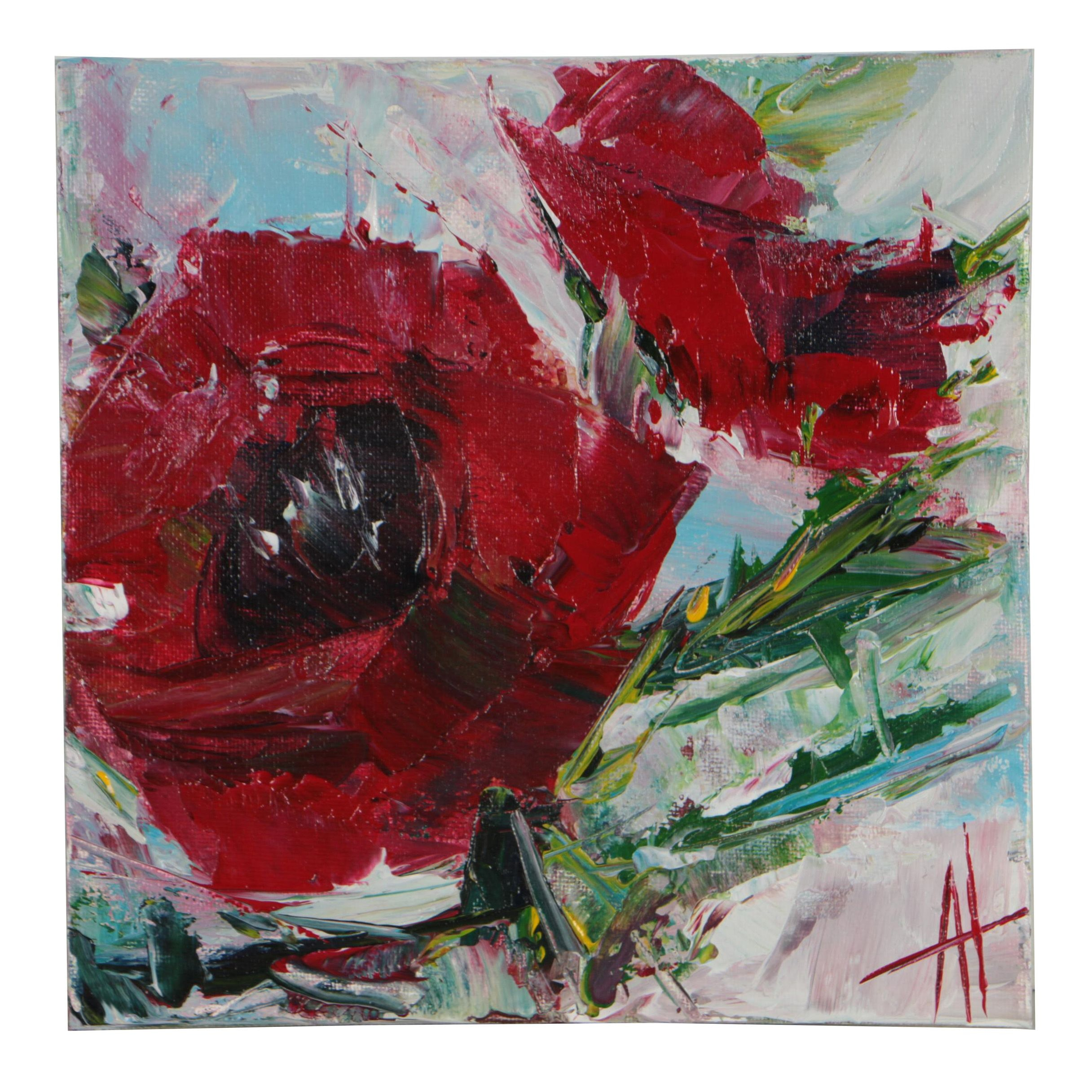 "Anne Thouthip Acrylic Painting ""Poppies"""