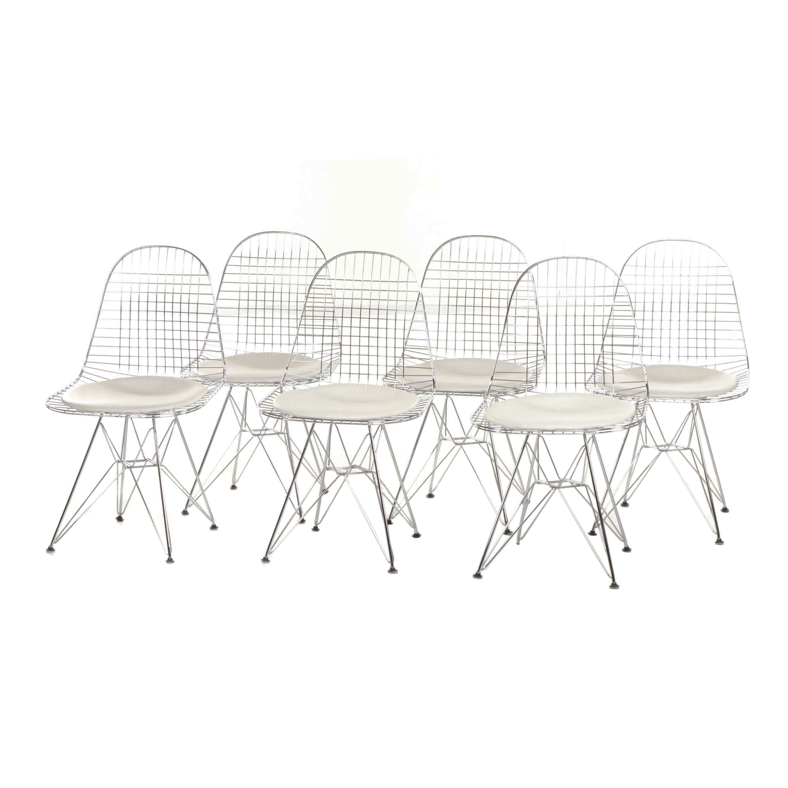 Eames Style Wire Frame Chairs with Eiffel Base and Upholstered Seat
