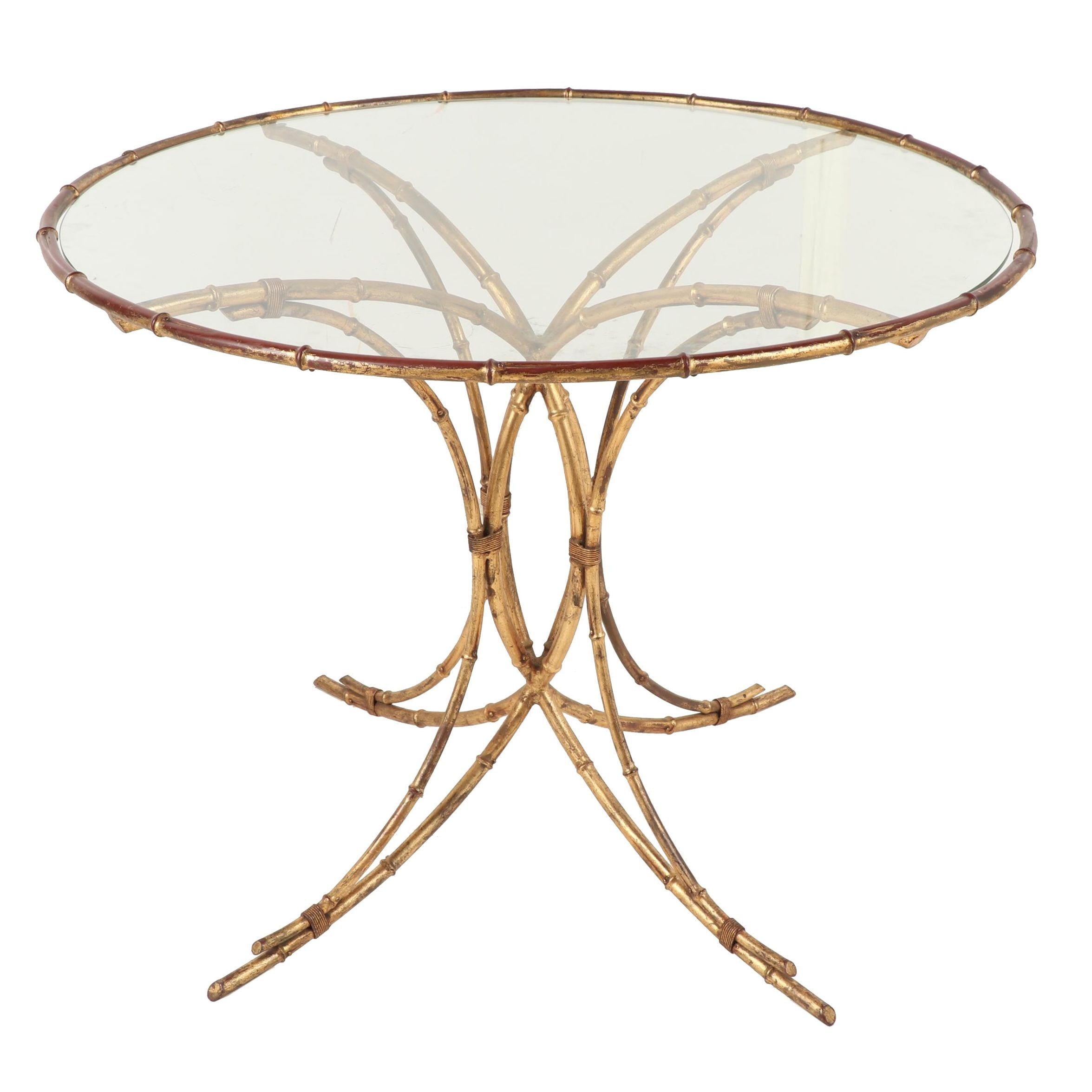 Gold Toned Metal Bamboo Patio Table