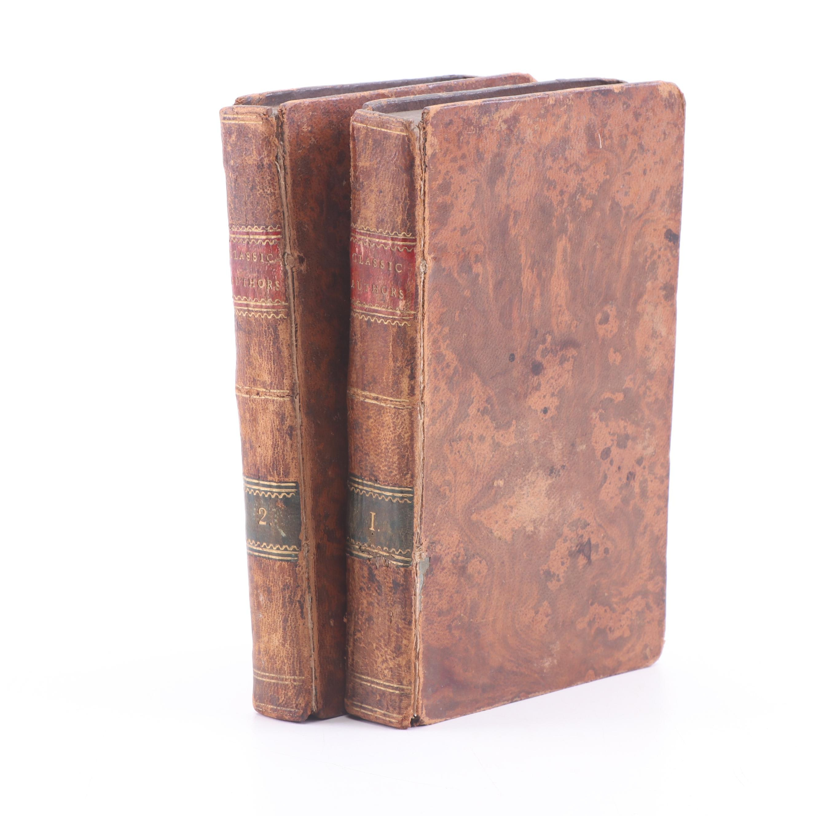 """1741 """"The Lives and Characters of All the Classic Authors"""" Two Volume Set"""