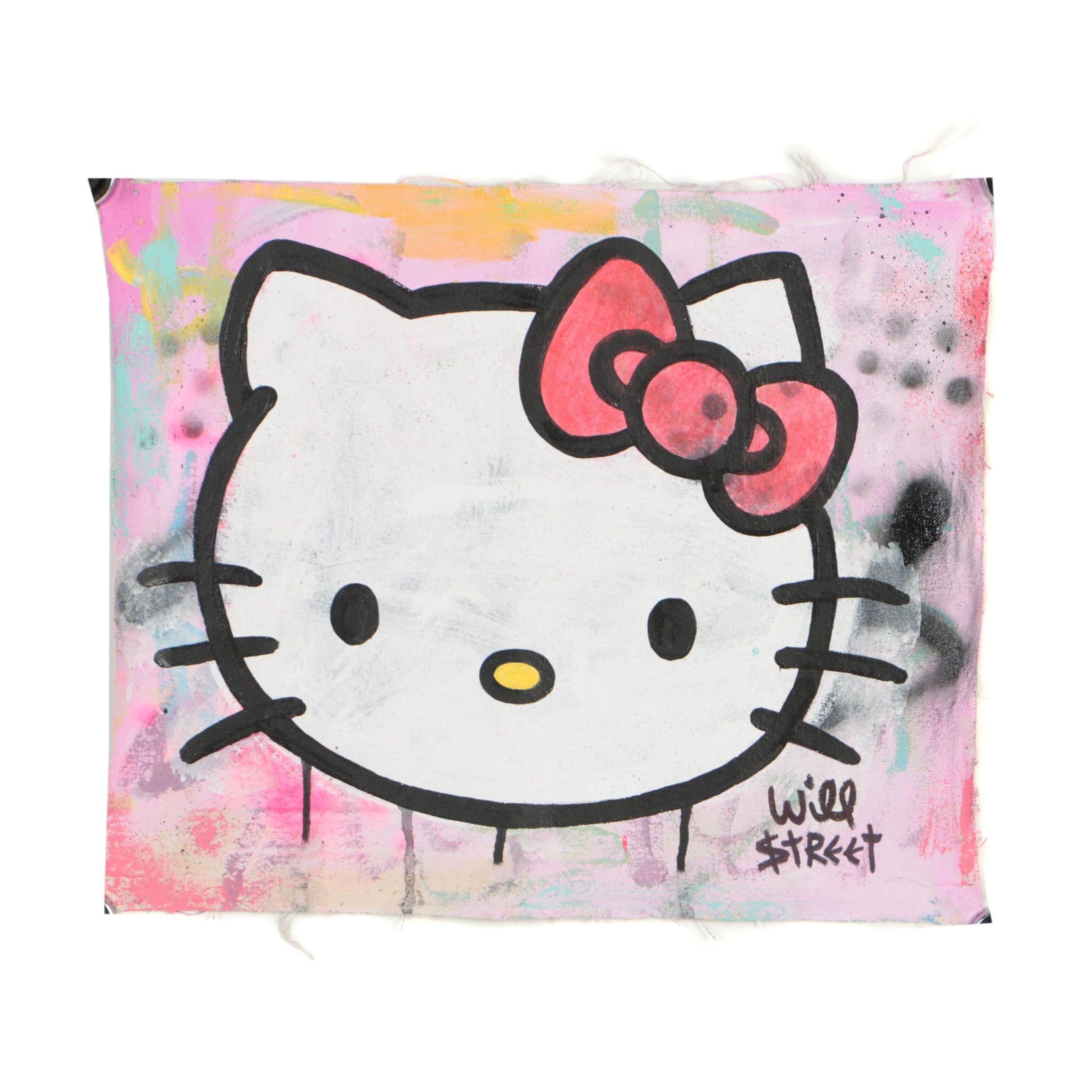 "Will $treet Acrylic Painting ""Hello Kitty"""