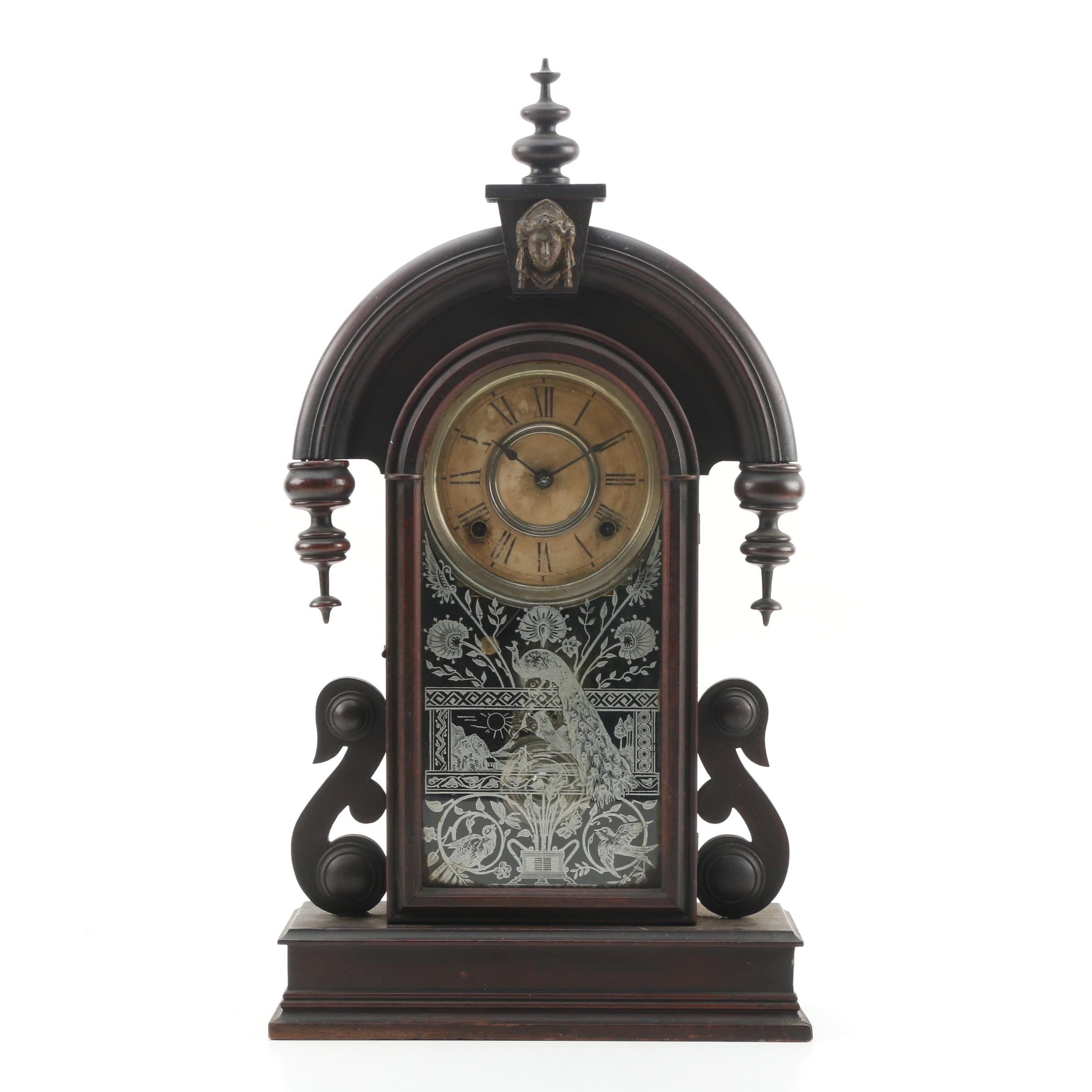 Victorian Ansonia Walnut Finish Shelf Clock, Late 19th Century