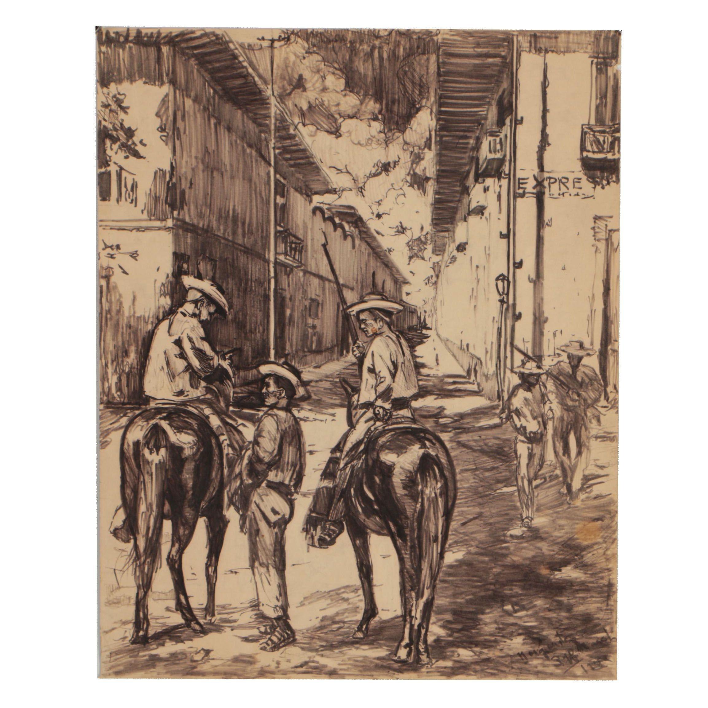 Margarita Ziff March Ink Drawing of Western Street Scene