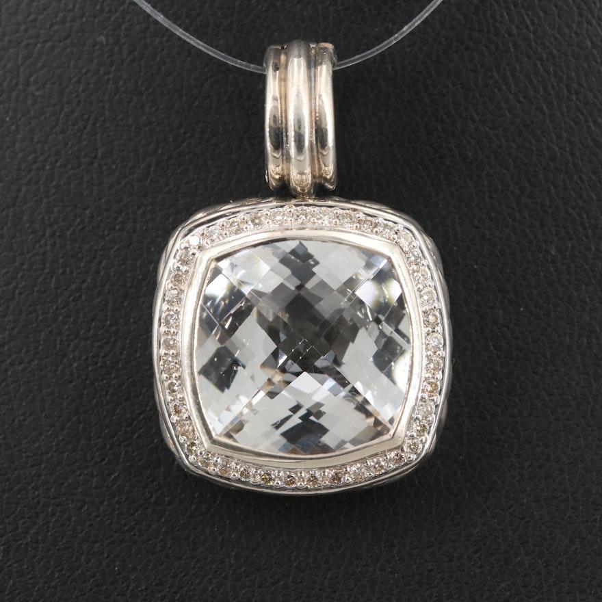 David Yurman Sterling Silver Topaz and Diamond Albion Pendant