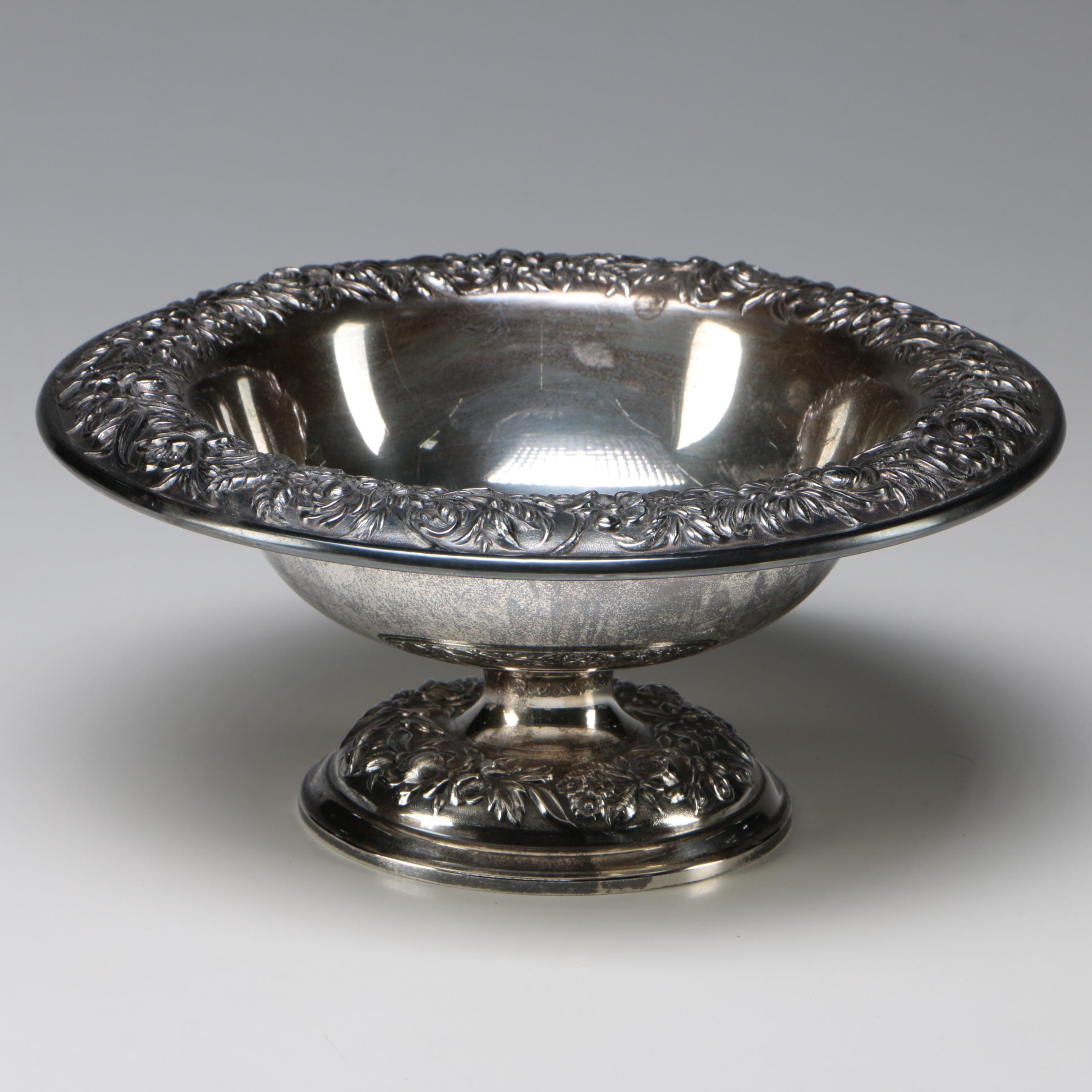 "S. Kirk & Son ""Repoussé"" Sterling Silver Pedestal Fruit Bowl, Early 20th Century"