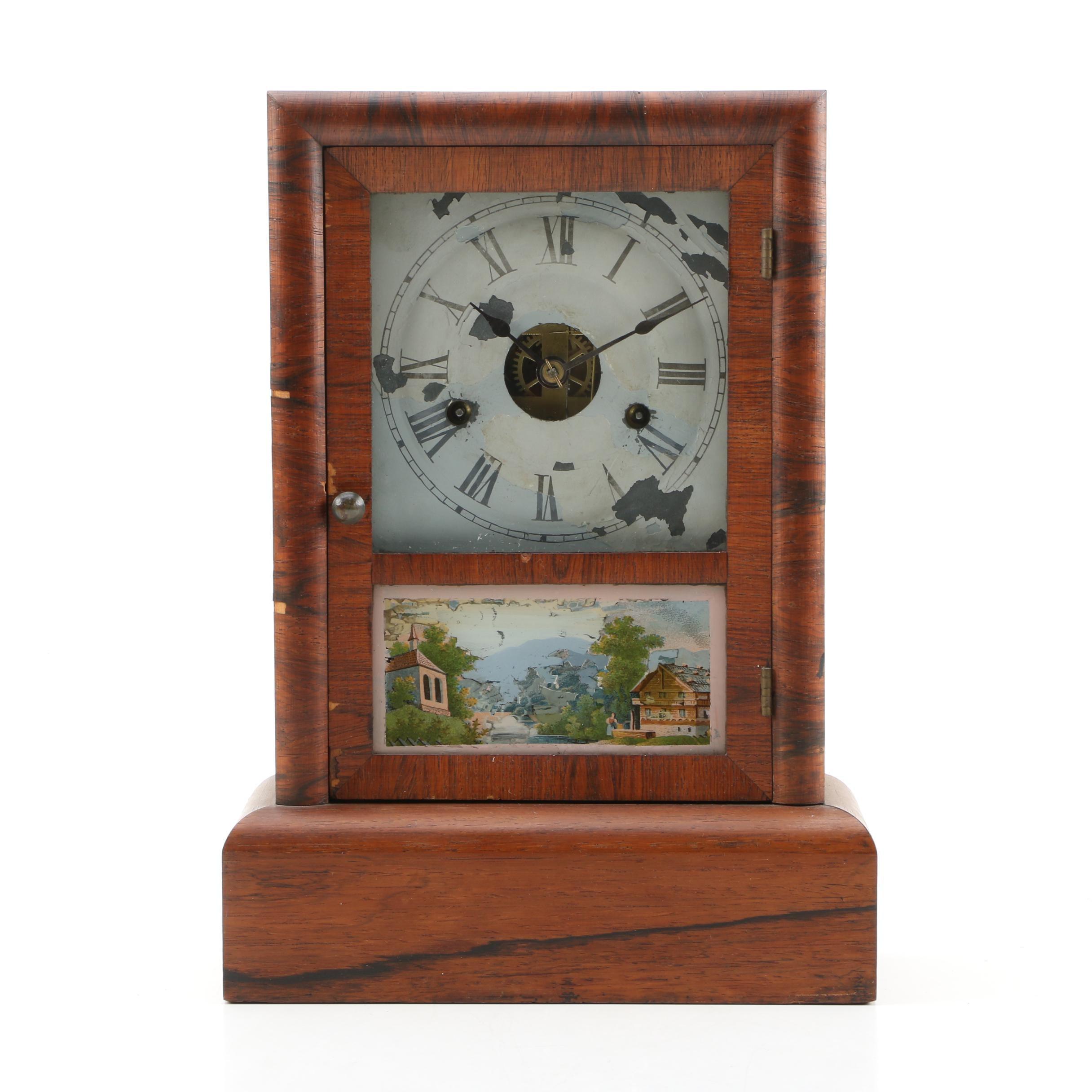 Seth Thomas Mantel Clock with Chromolithograph Alpine Scene