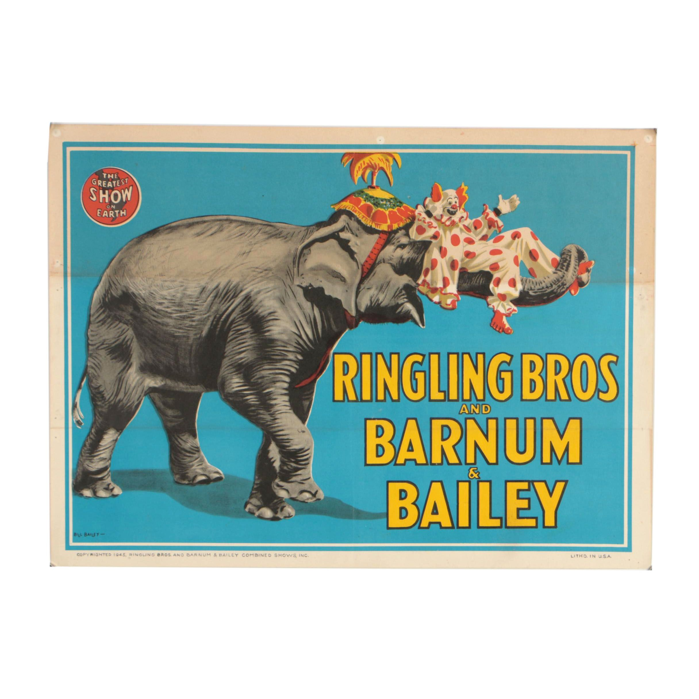 Ringling Bros and Barnum and Bailey Lithographic Circus Poster after Bill Bailey