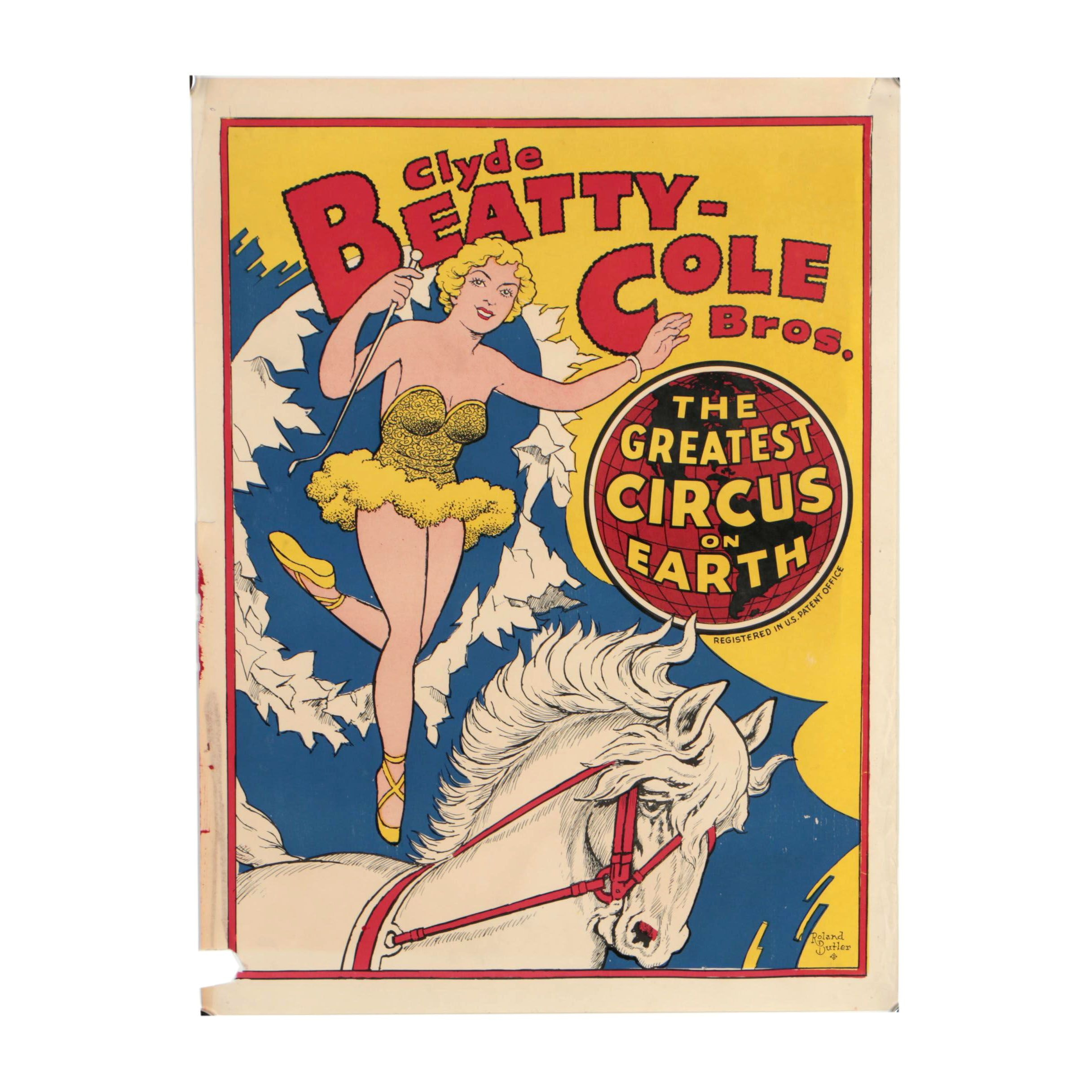 Clyde Beatty-Cole Brothers Relief Print Circus Poster after Roland Butler