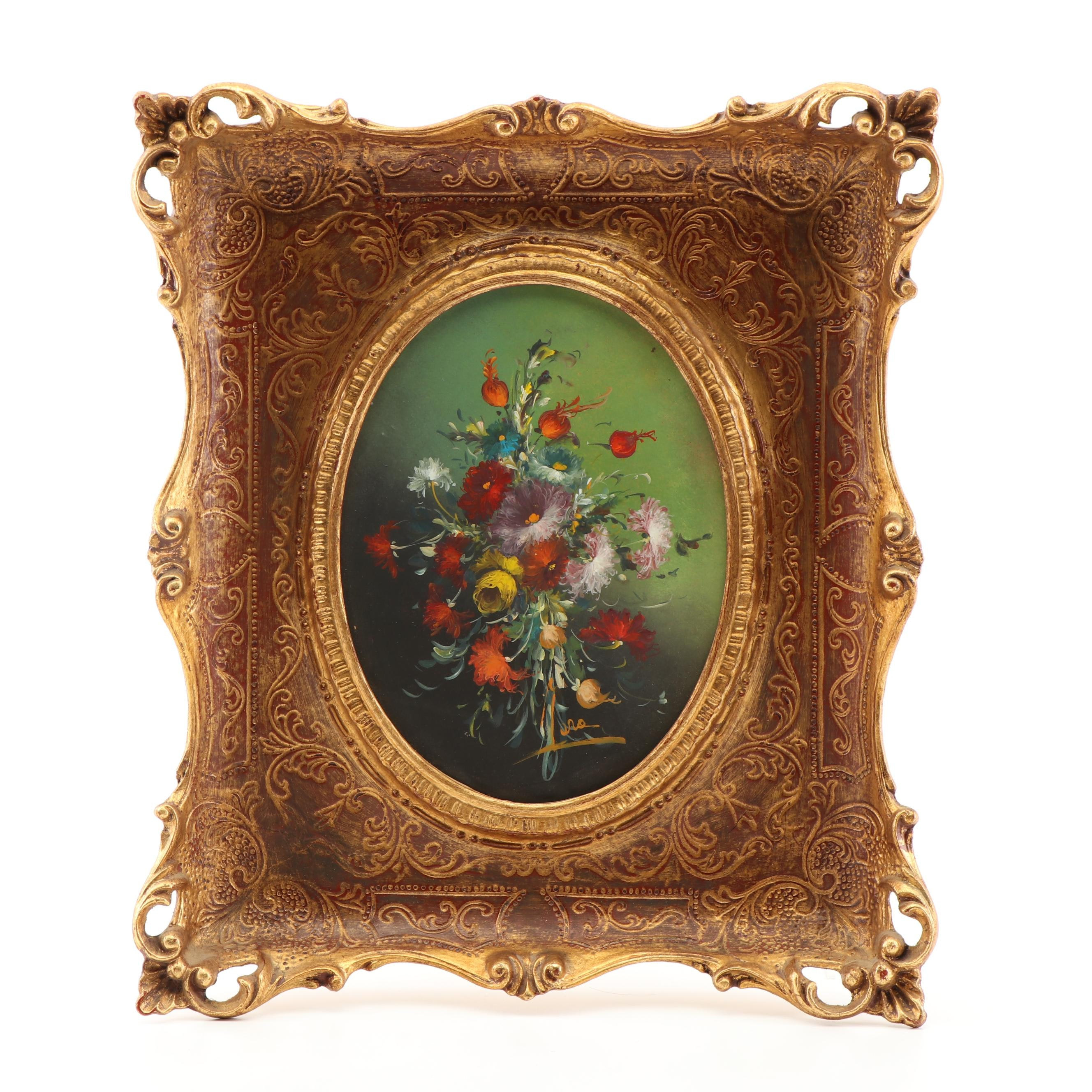 Floral Still Life Acrylic Painting in Florentine Style Frame