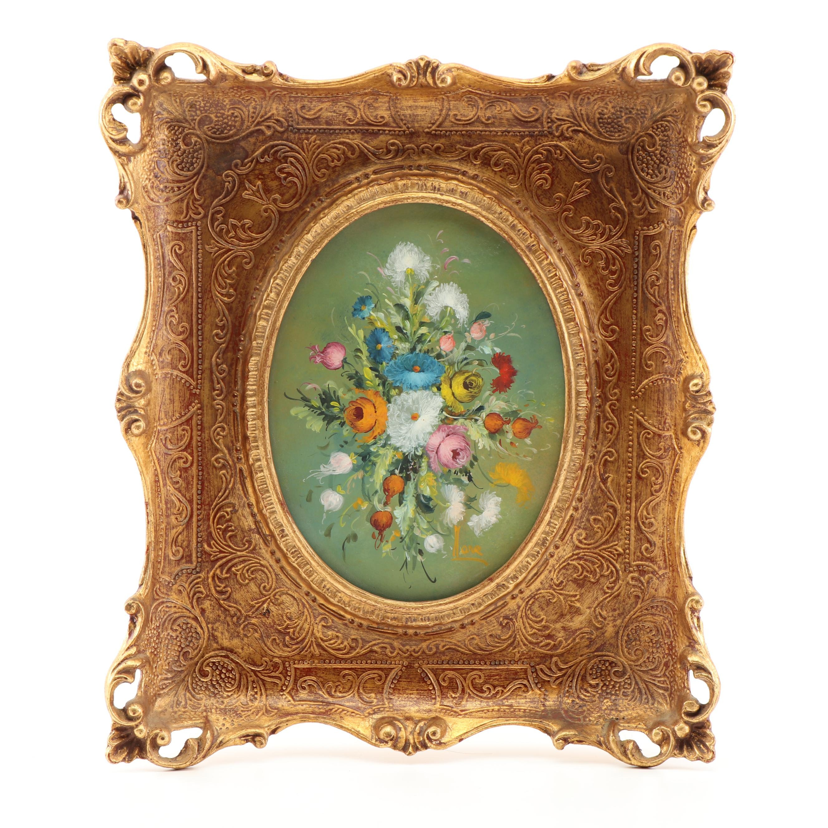 Floral Oil Painting in Florentine Frame