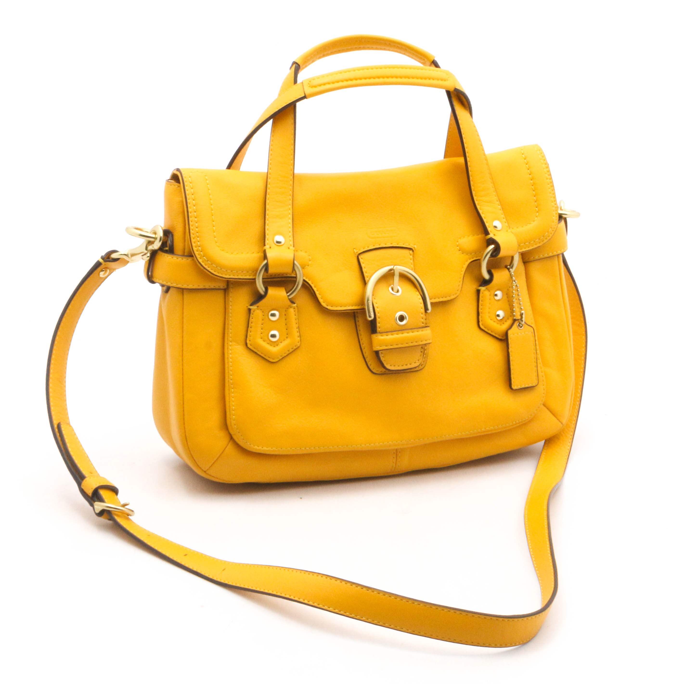 Coach Campbell Yellow Leather Convertible Handbag