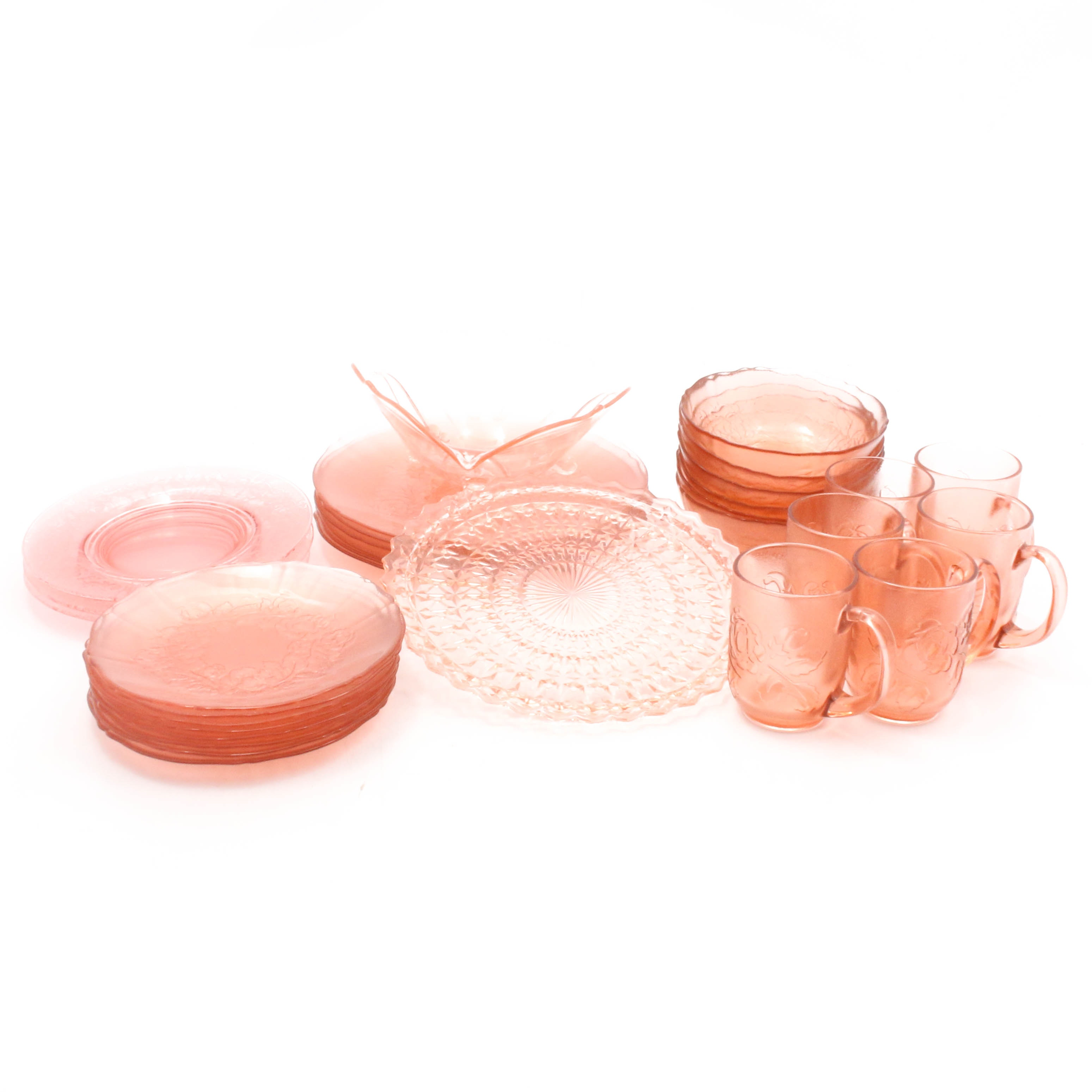 Blush Pink Glass Tableware Featuring Cambridge and Arcoroc