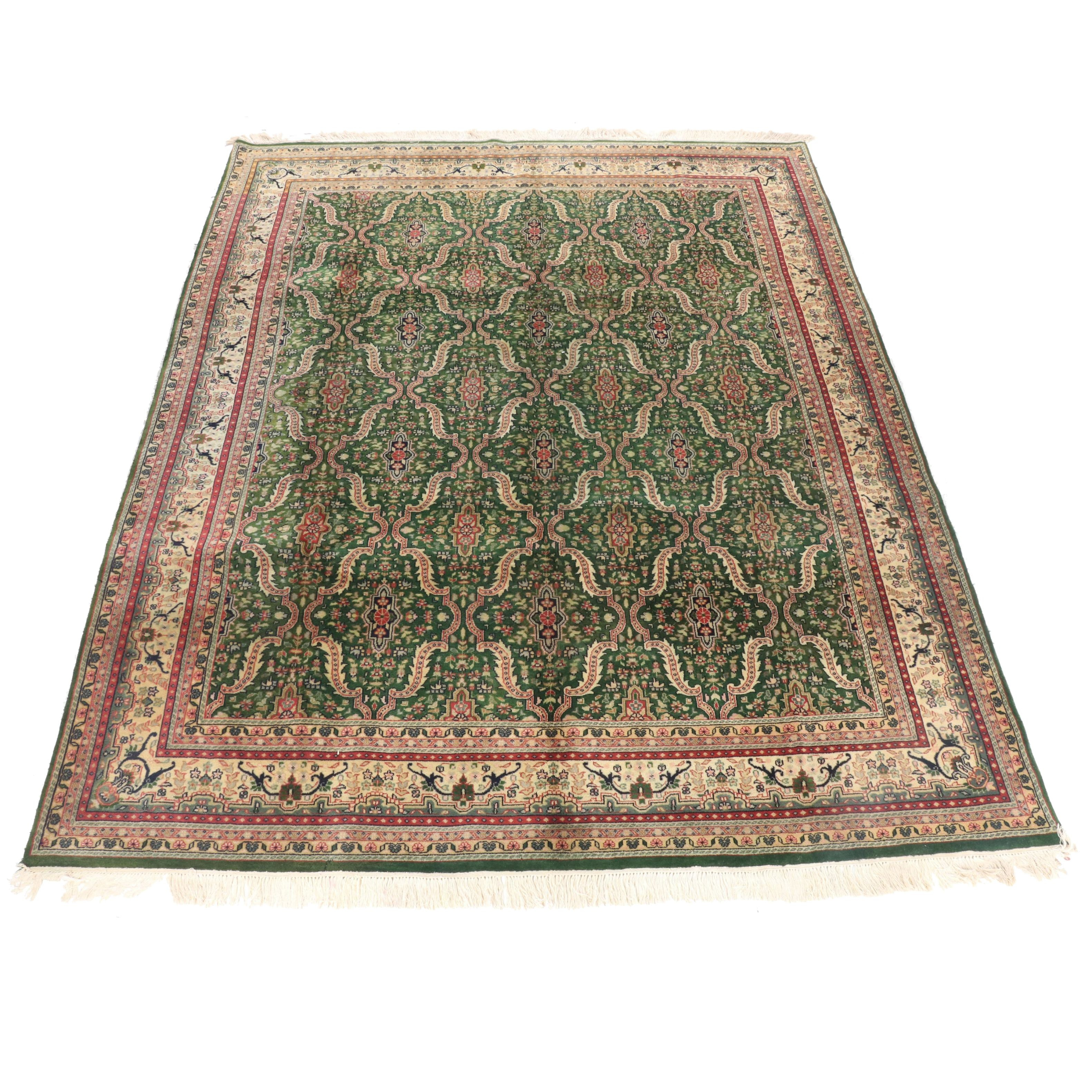 Hand-Knotted Indian Kashan Wool Area Rug