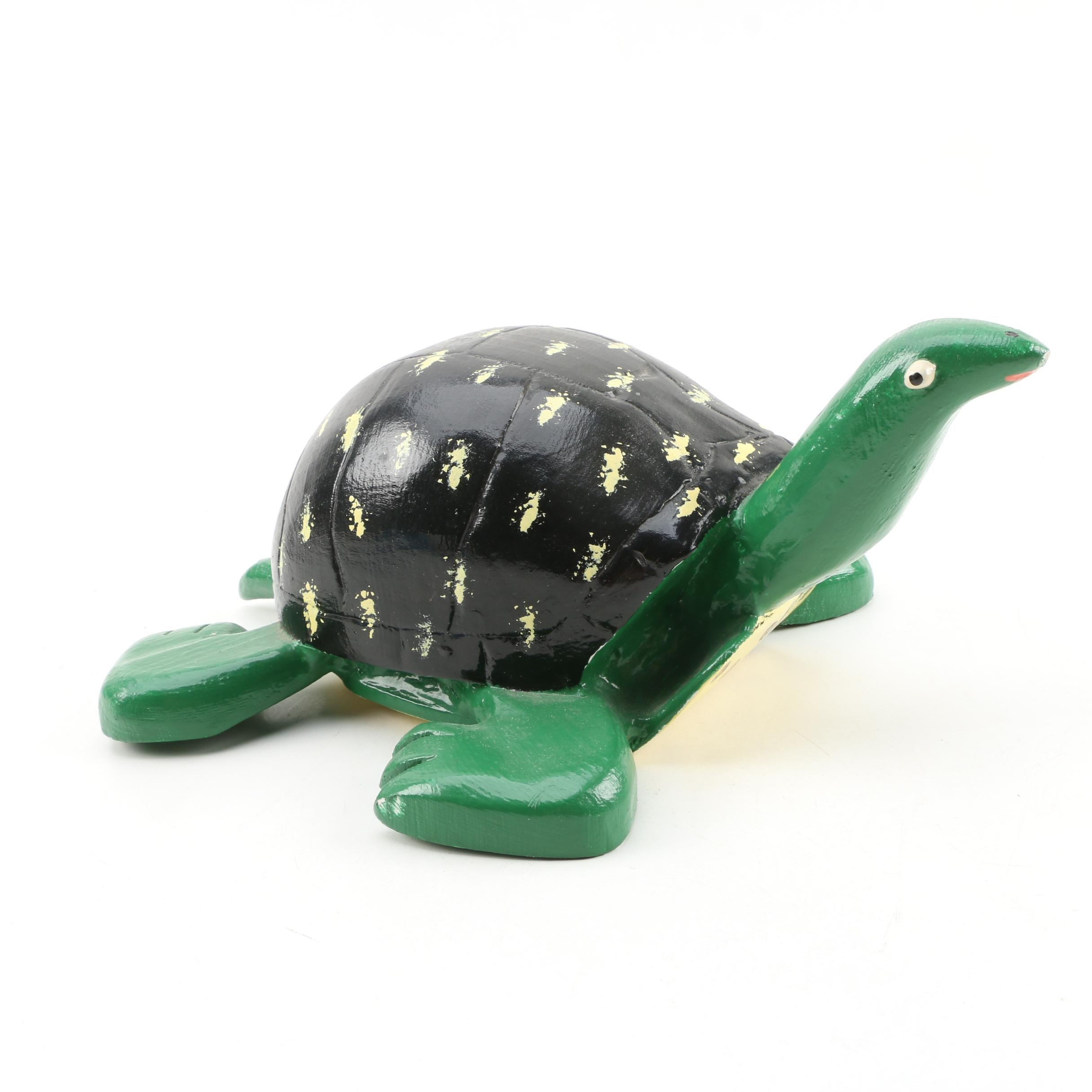 Lonnie Money Folk Art Carved Turtle