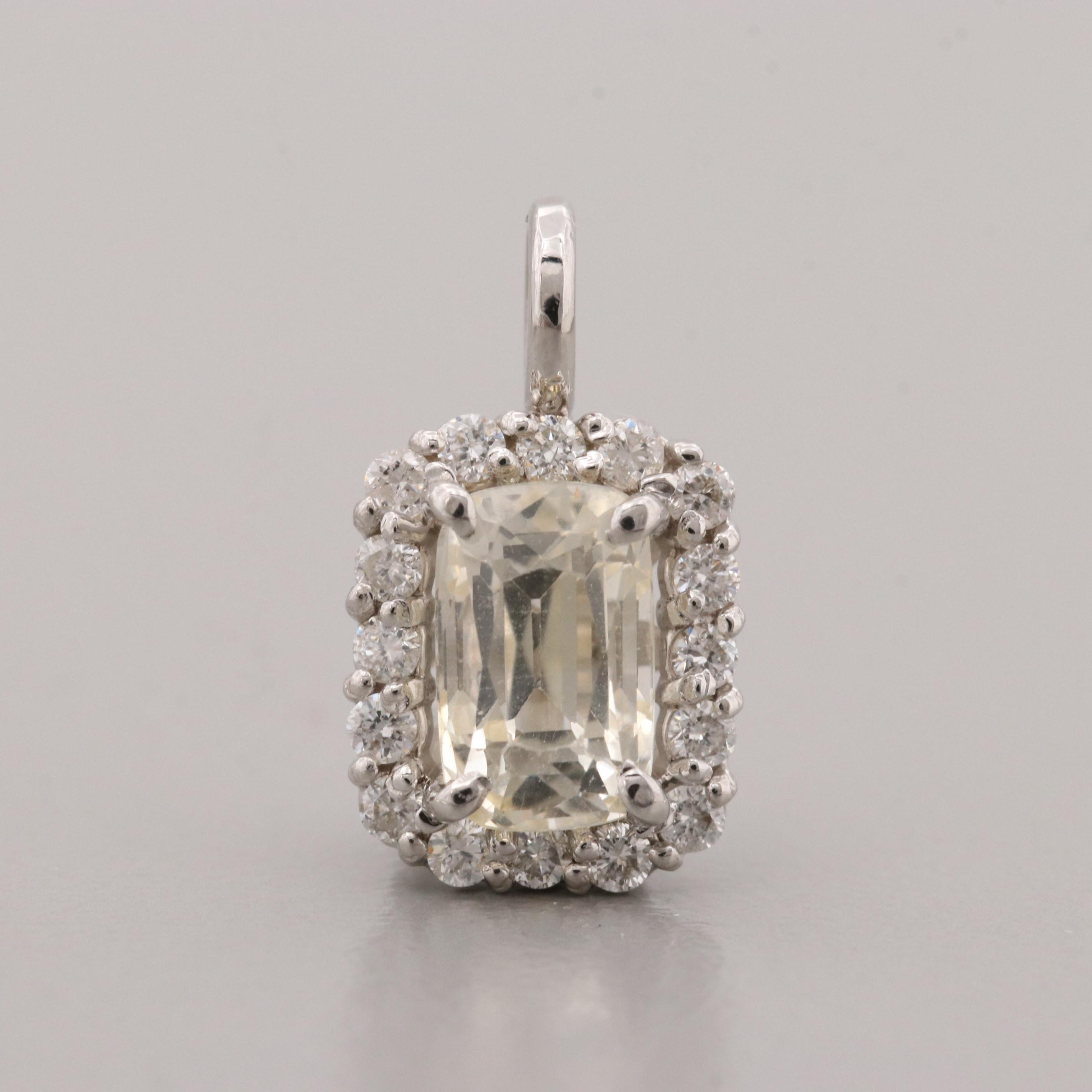 14K White Gold Unheated Yellow Sapphire and Diamond Pendant with GIA Report