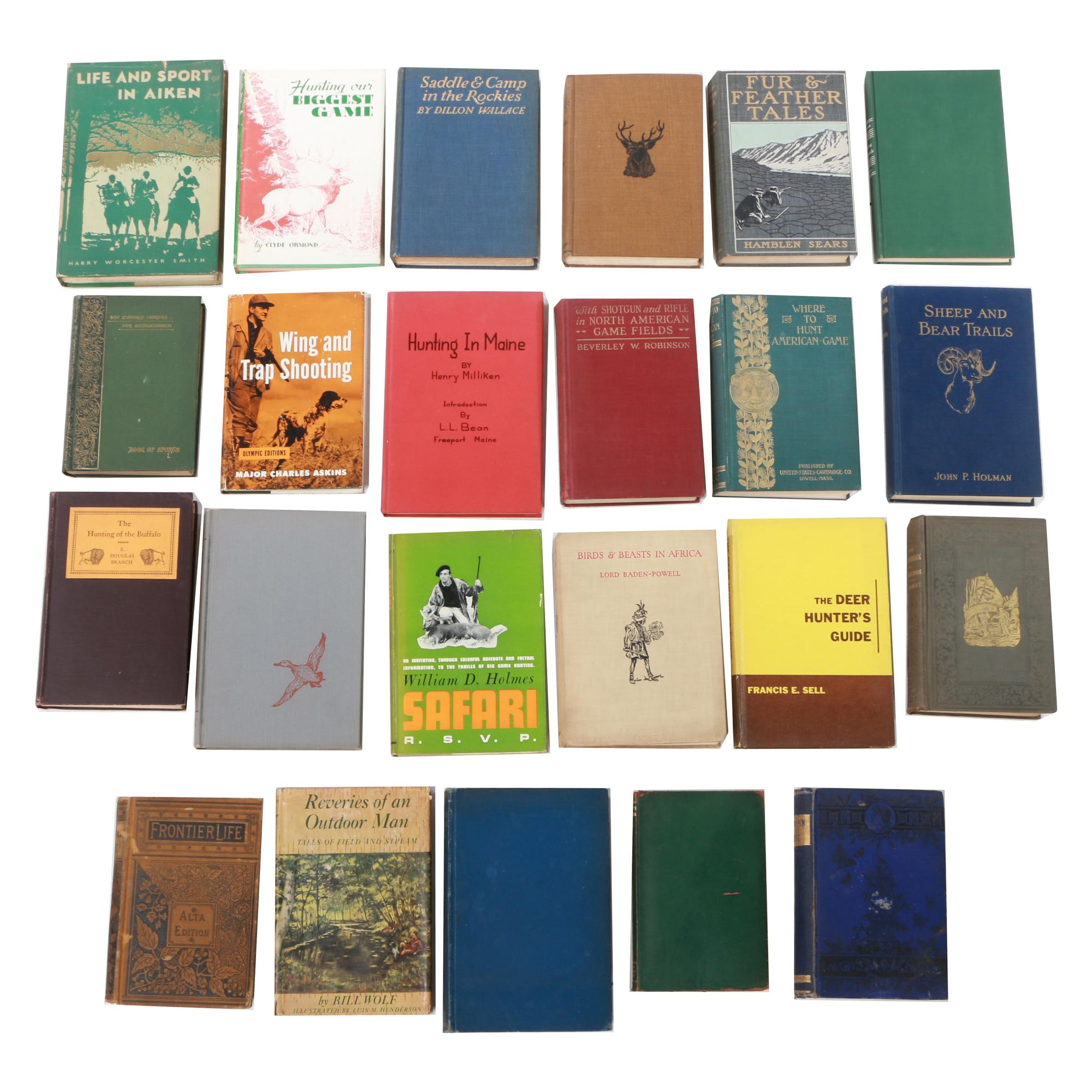 """Assorted Hunting Books featuring """"Sportsmen's Encyclopedia"""" by Bruette, 1923"""
