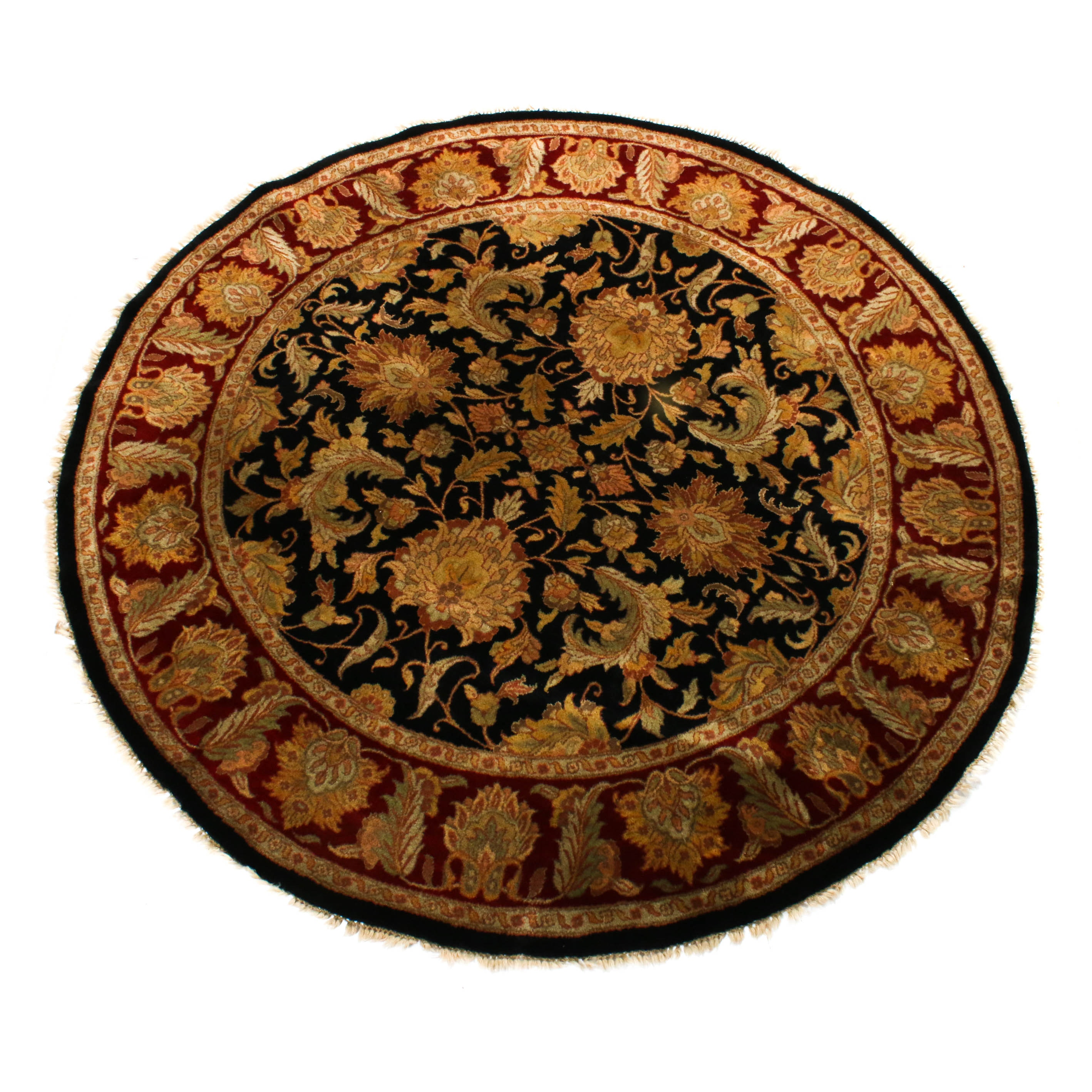 Hand-Knotted Indo-Persian Tabriz Round Rug