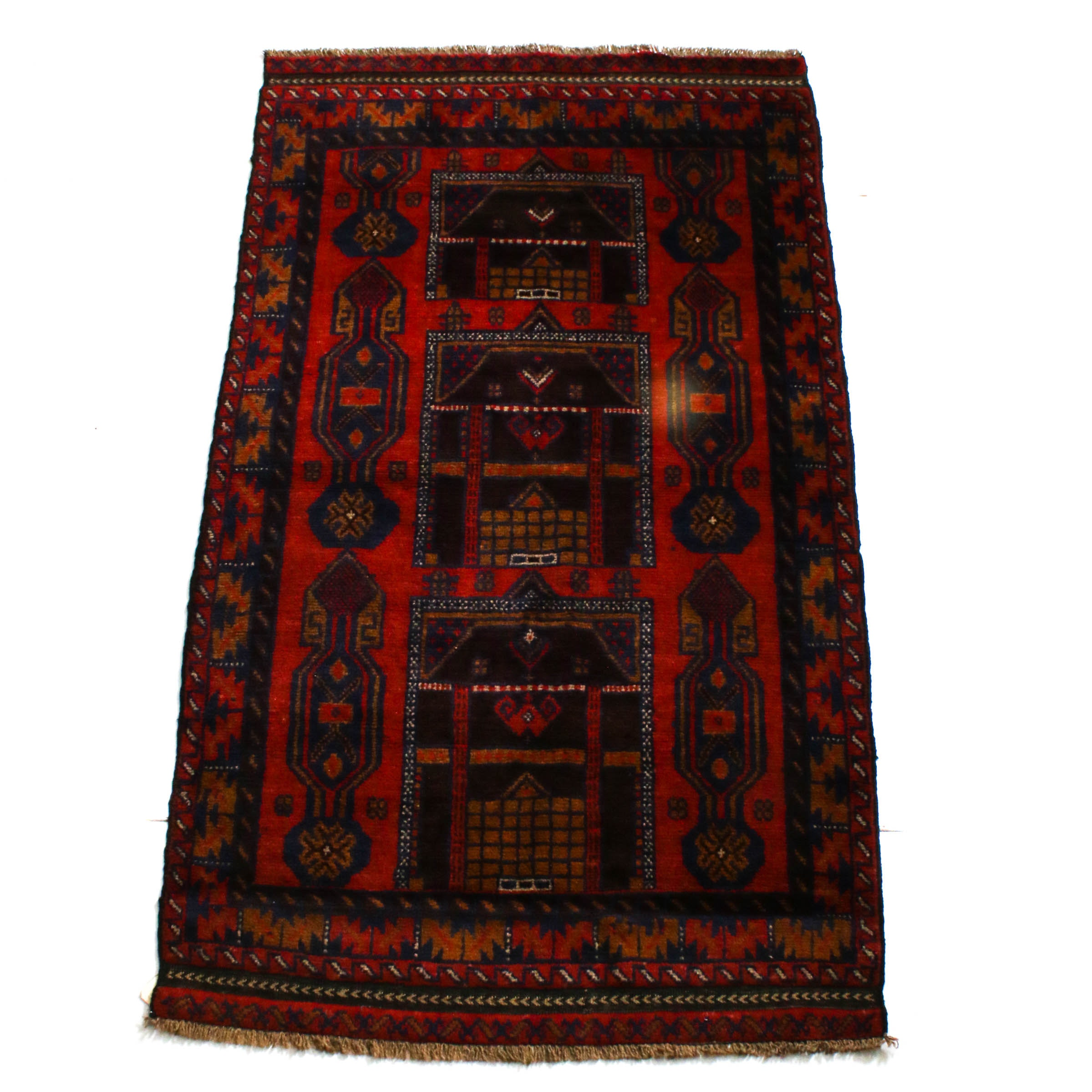 Hand-Knotted Afghani Baluch Area Rug