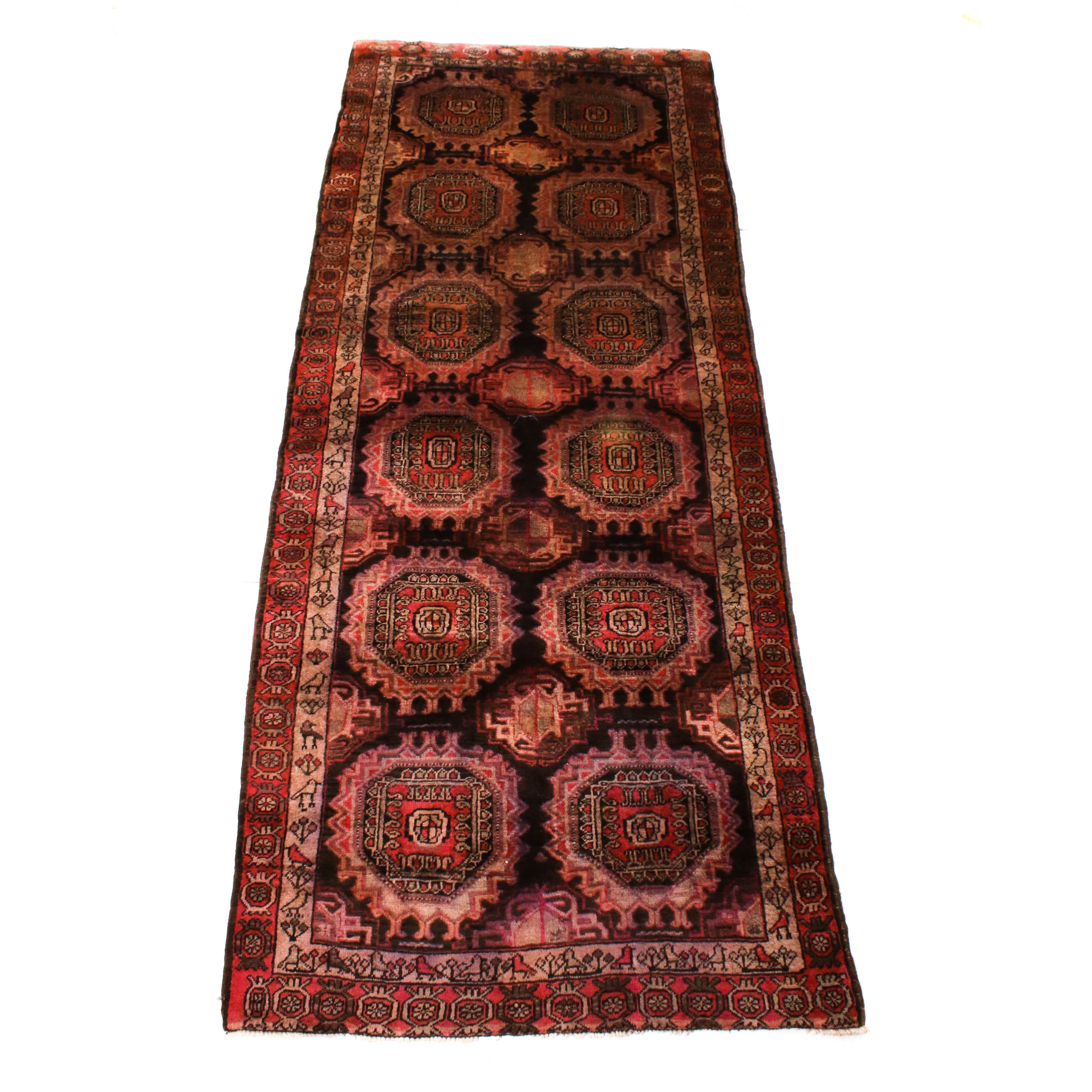 Hand-Knotted Afghani Pictorial Sahrukh Wool Long Rug