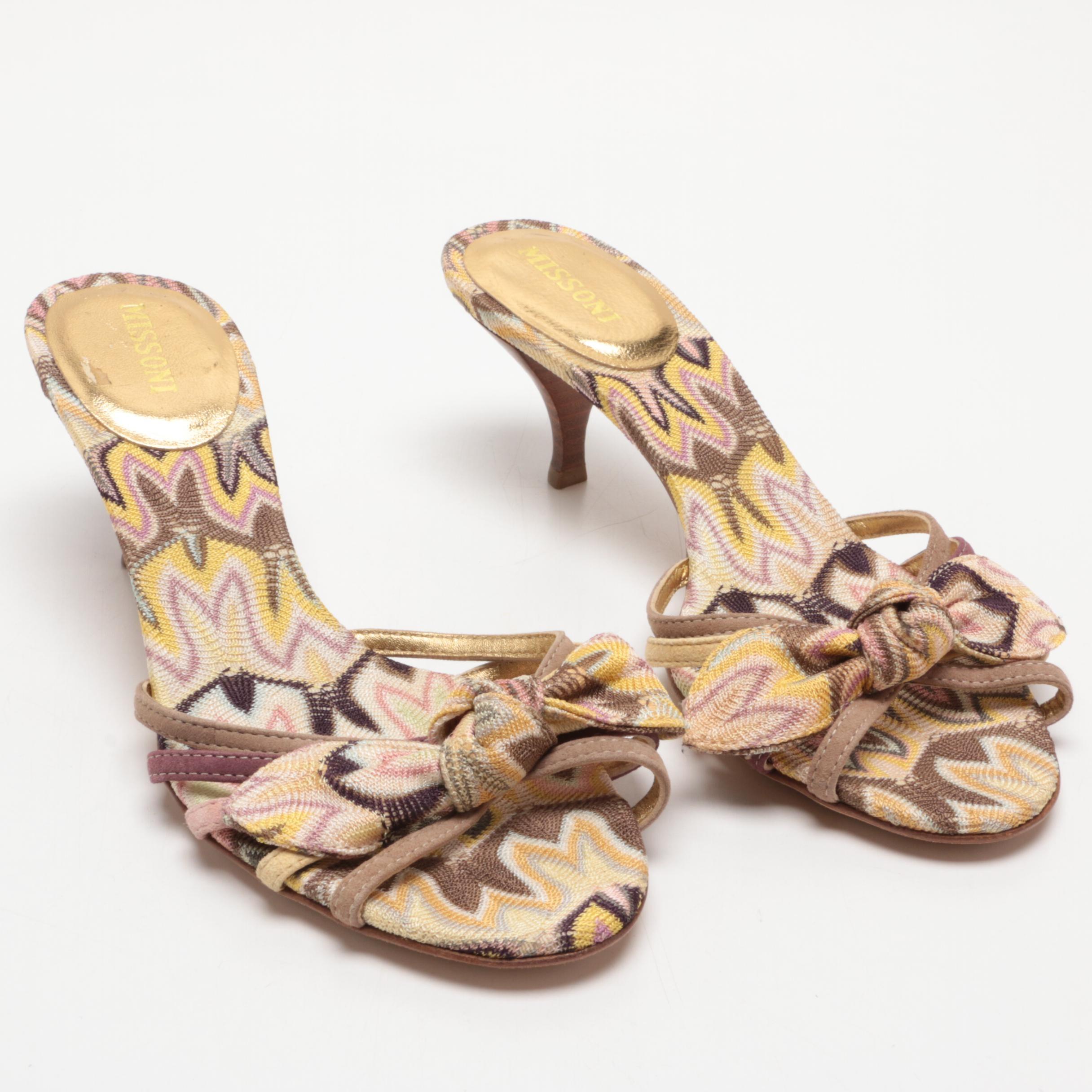 Missoni Pastel Chevron Heeled Slide Sandals