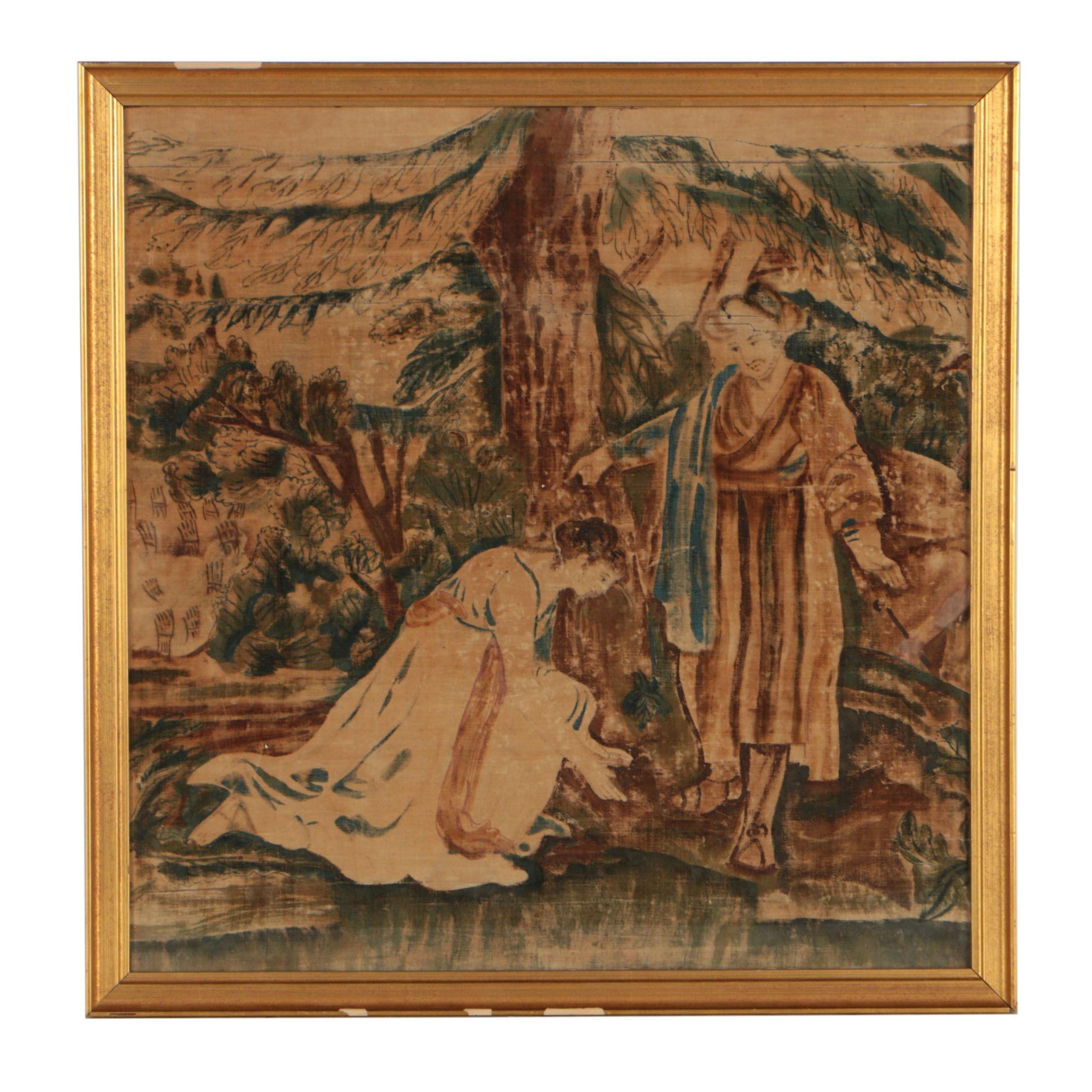 19th Century Gouache Painting on Velvet of Ruth and Boaz