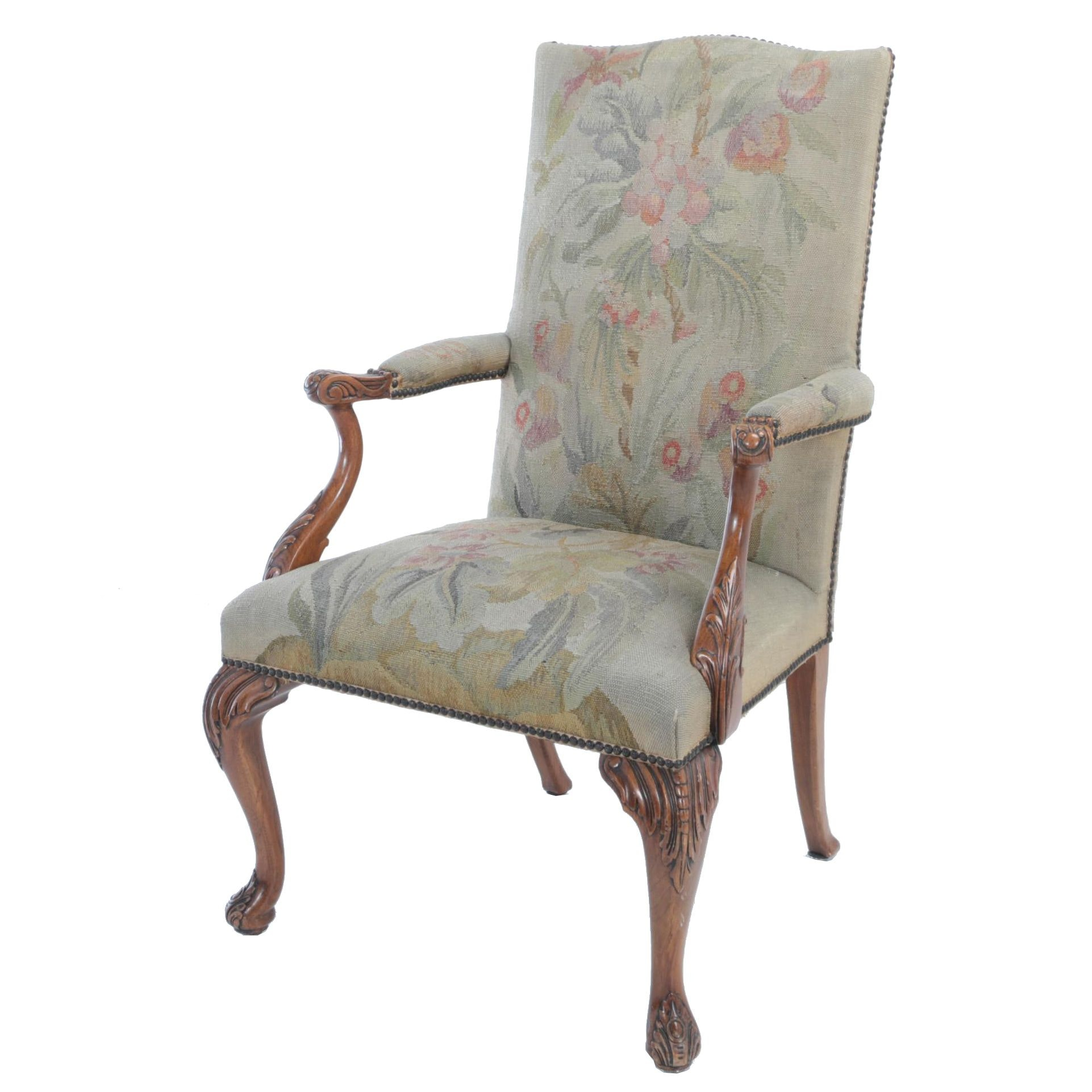 Louis XV Style Carved Walnut Fauteuil, 20th Century