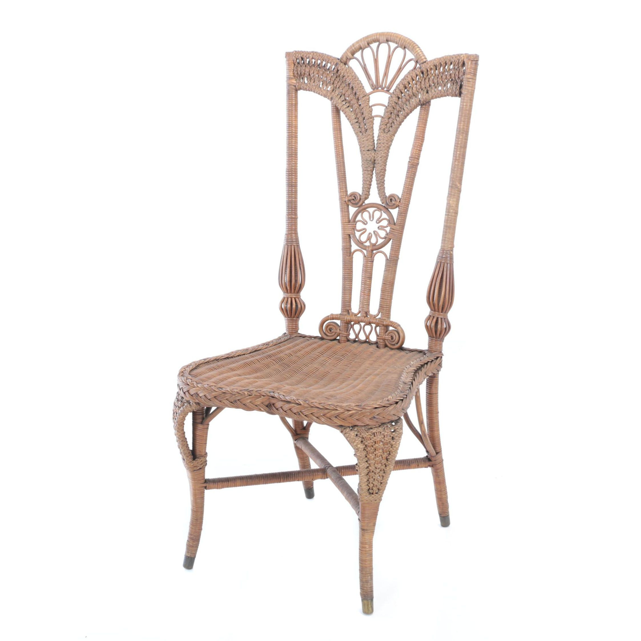 Wakefield Rattan Co., Victorian Brown Wicker Side Chair, Late 19th Century