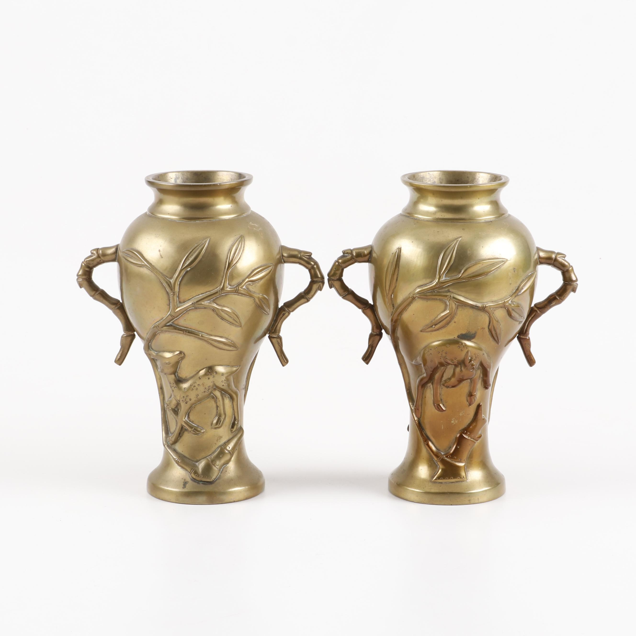 Chinese Dual-Handle Brass Vases Depicting Deer and Bamboo