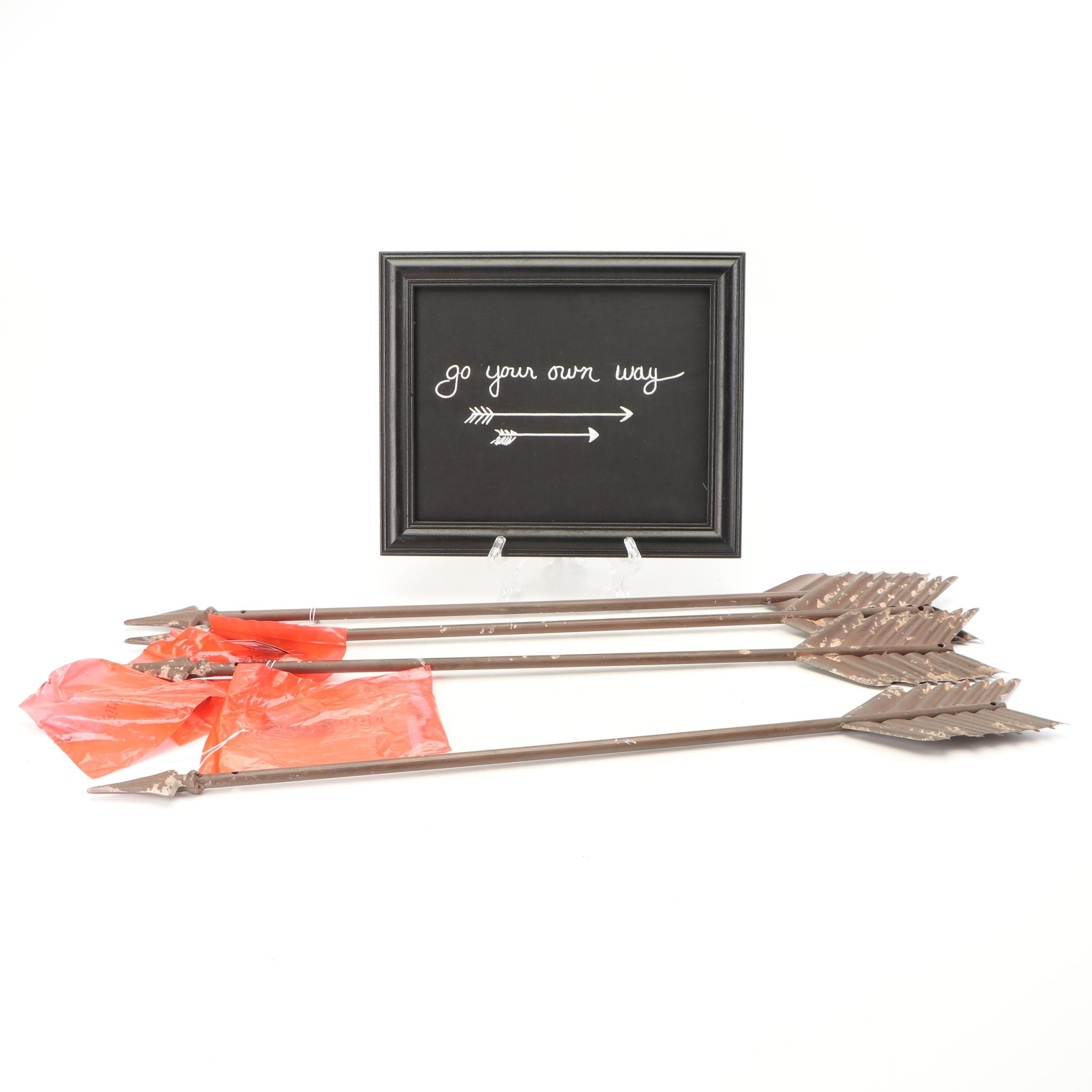 Decorative Metal Arrows and Sign