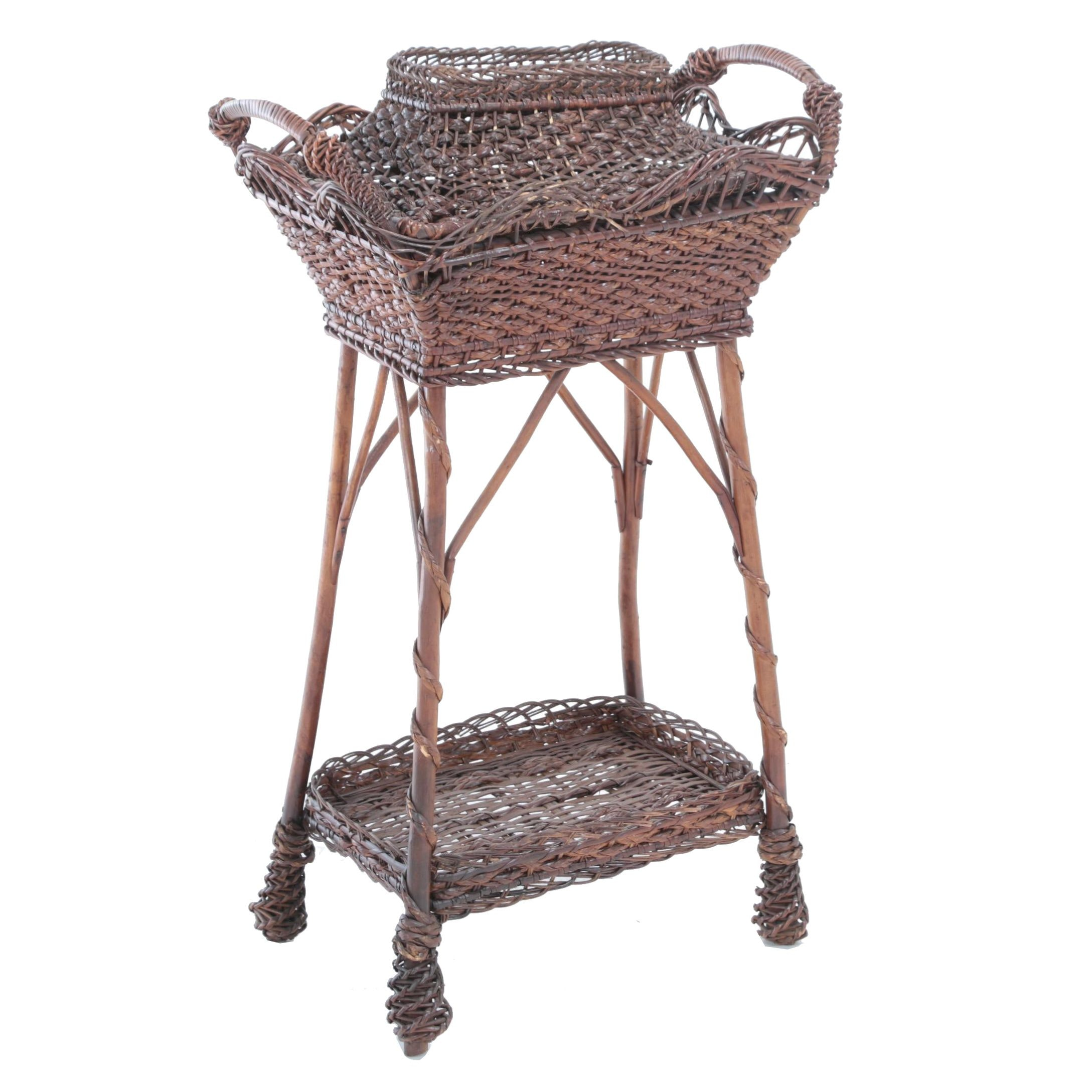 Late Victorian Brown Wicker Sewing Stand, Late 19th/Early 20th Century