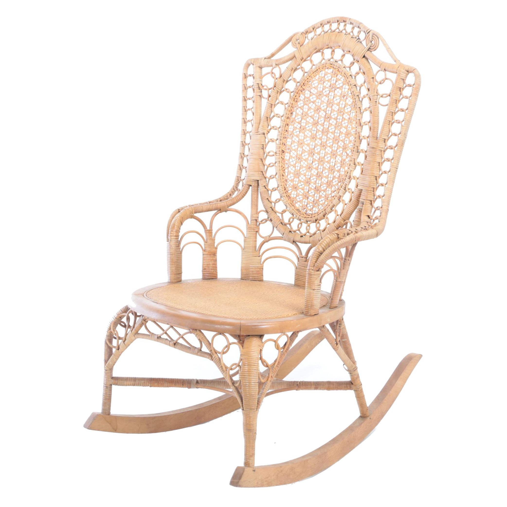 Late Victorian Natural Wicker Rocking Armchair, Late 19th/Early 20th Century