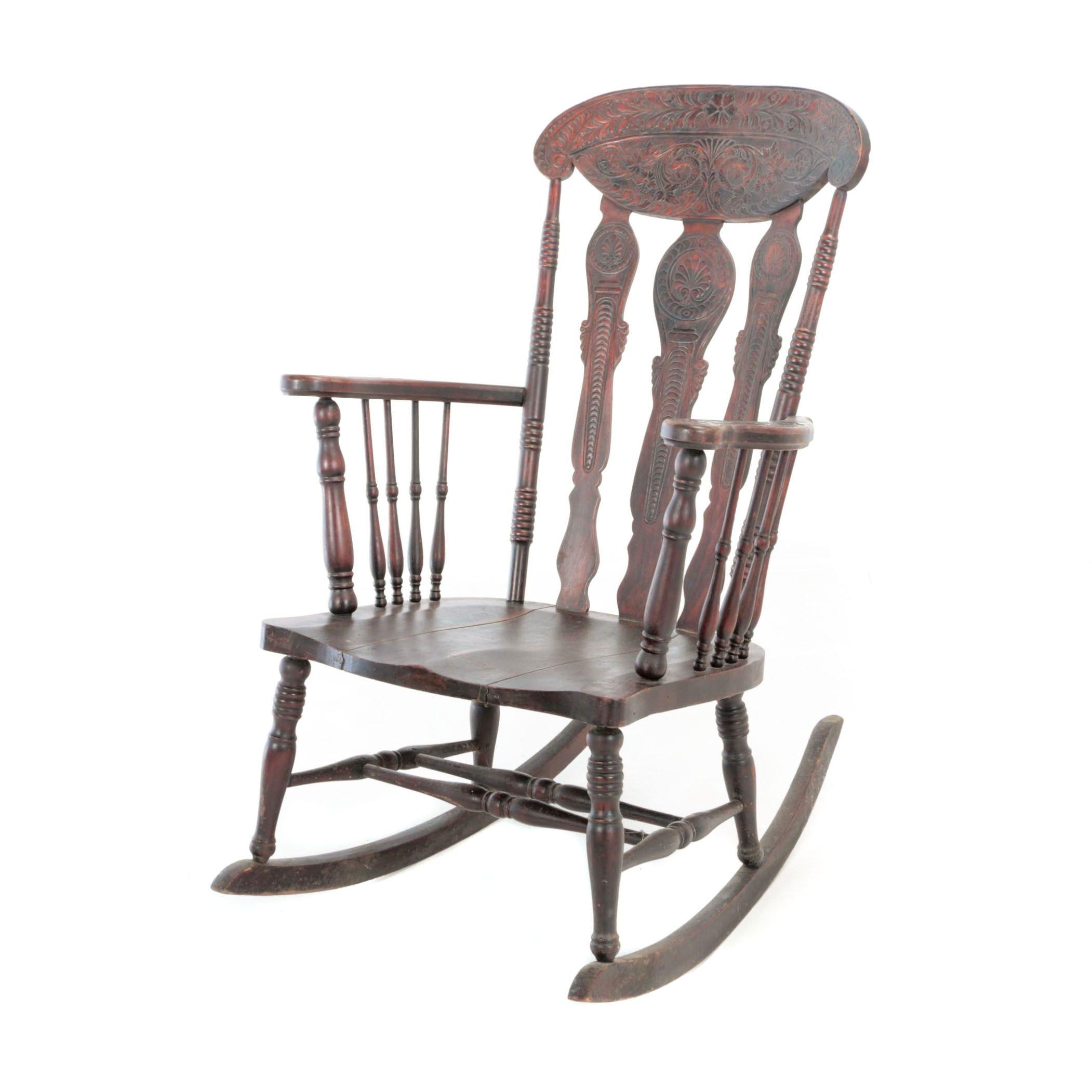 Late Victorian Press-Back Rocking Armchair, Circa 1900