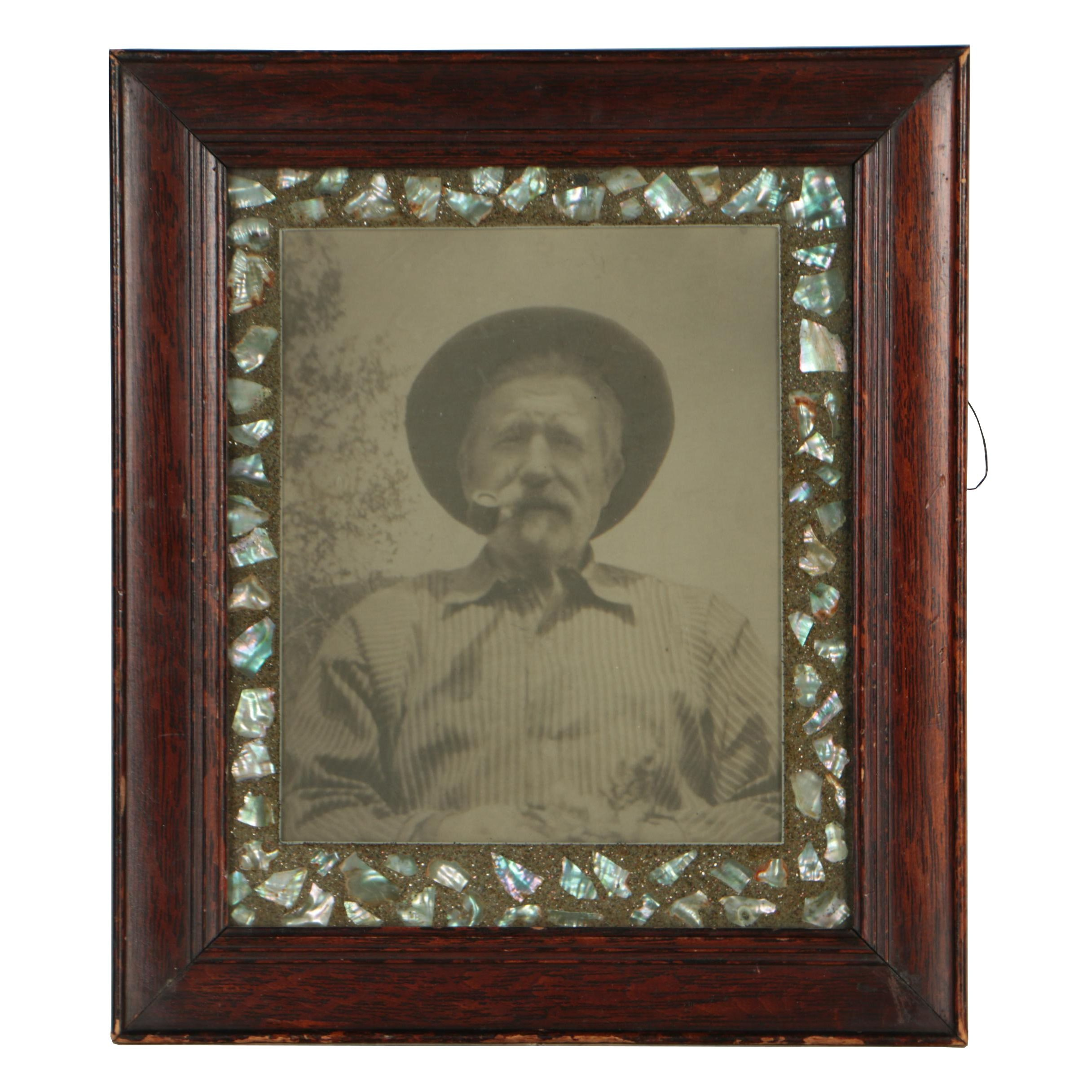 Silver Gelatin Photograph Portrait in a Wood Frame with Abalone