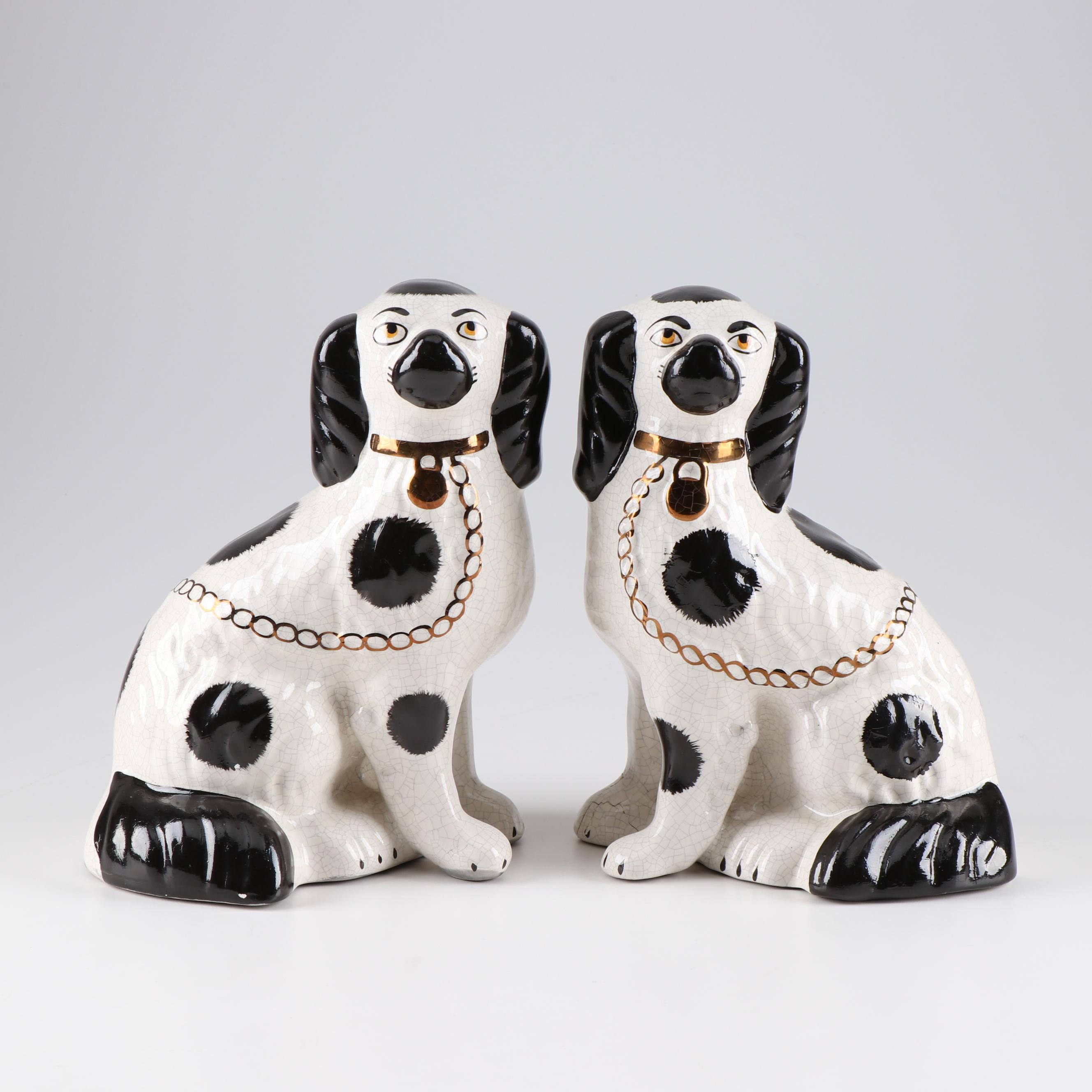 English Staffordshire Ceramic Dogs, Early 20th Century