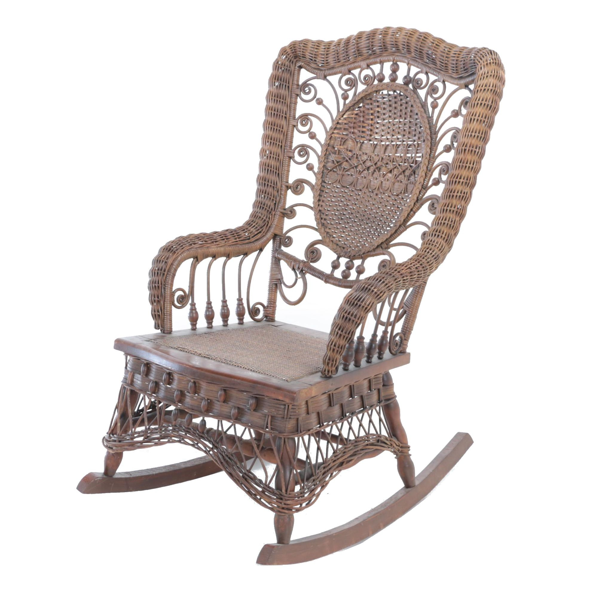 Late Victorian Brown Wicker Rocking Armchair, Late 19th/Early 20th Century