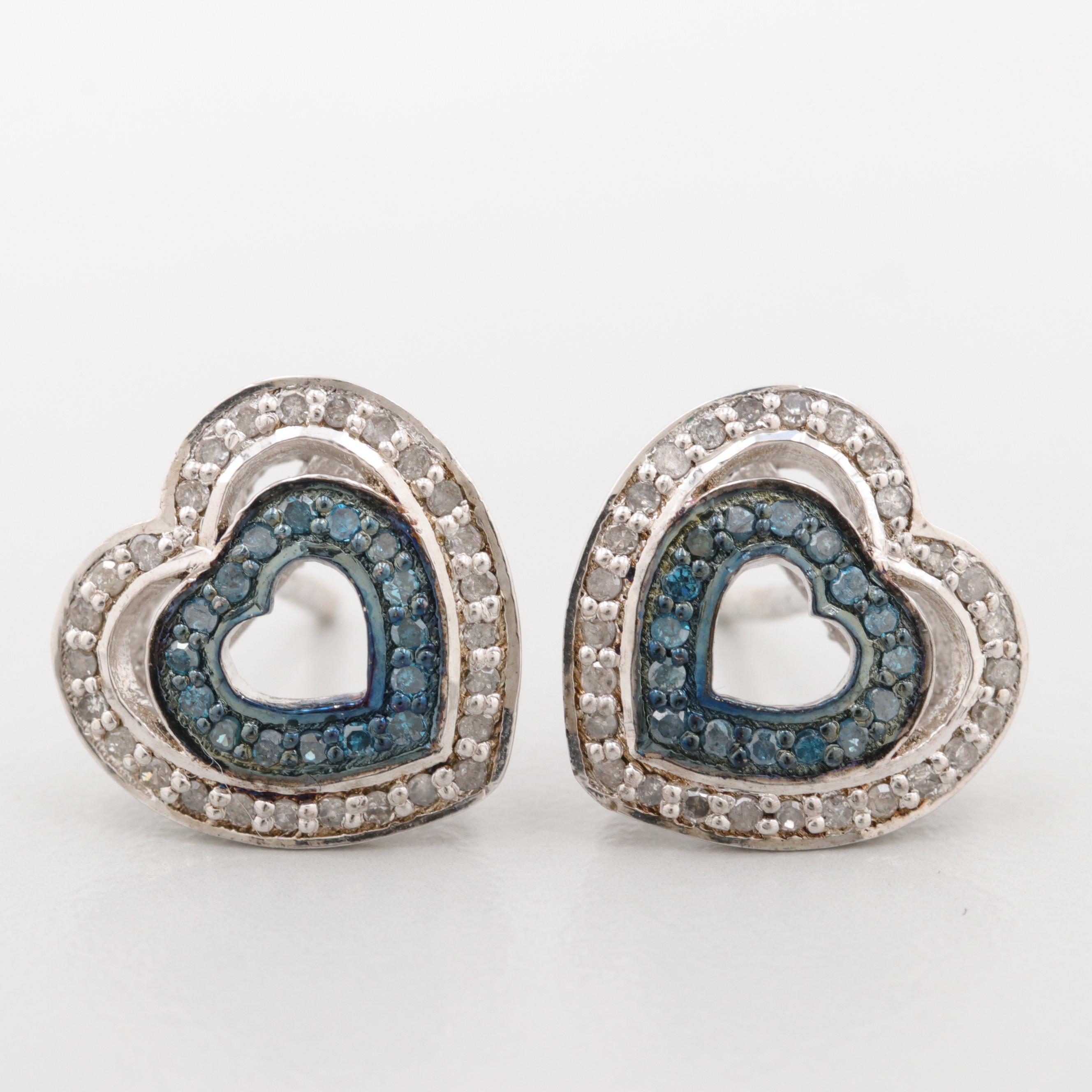 Sterling Silver Diamond and Blue Diamond Heart Earrings