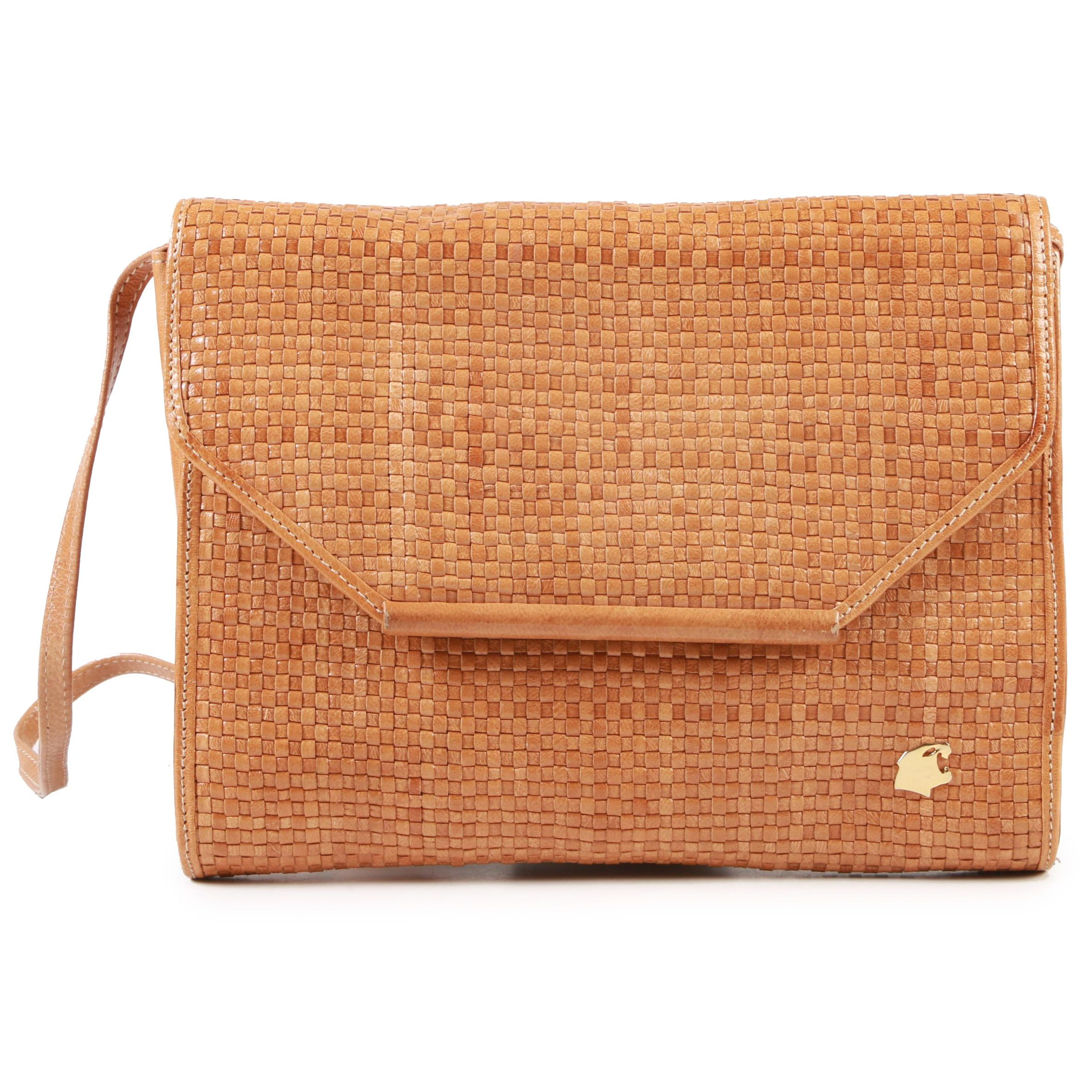Bagheera Camel Tan Woven Leather Shoulder Bag