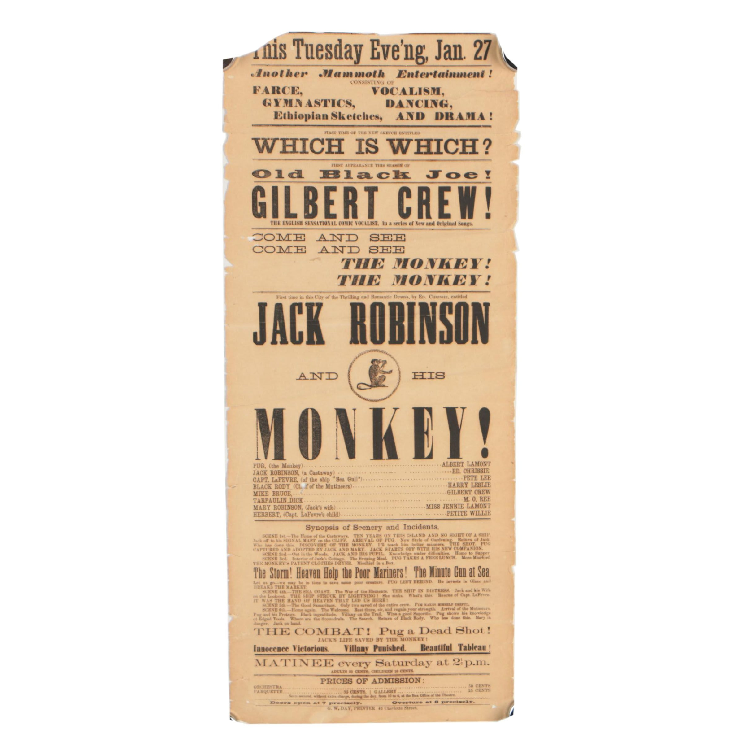 "19th Century Broadside for ""Jack Robinson and His Monkey!"""