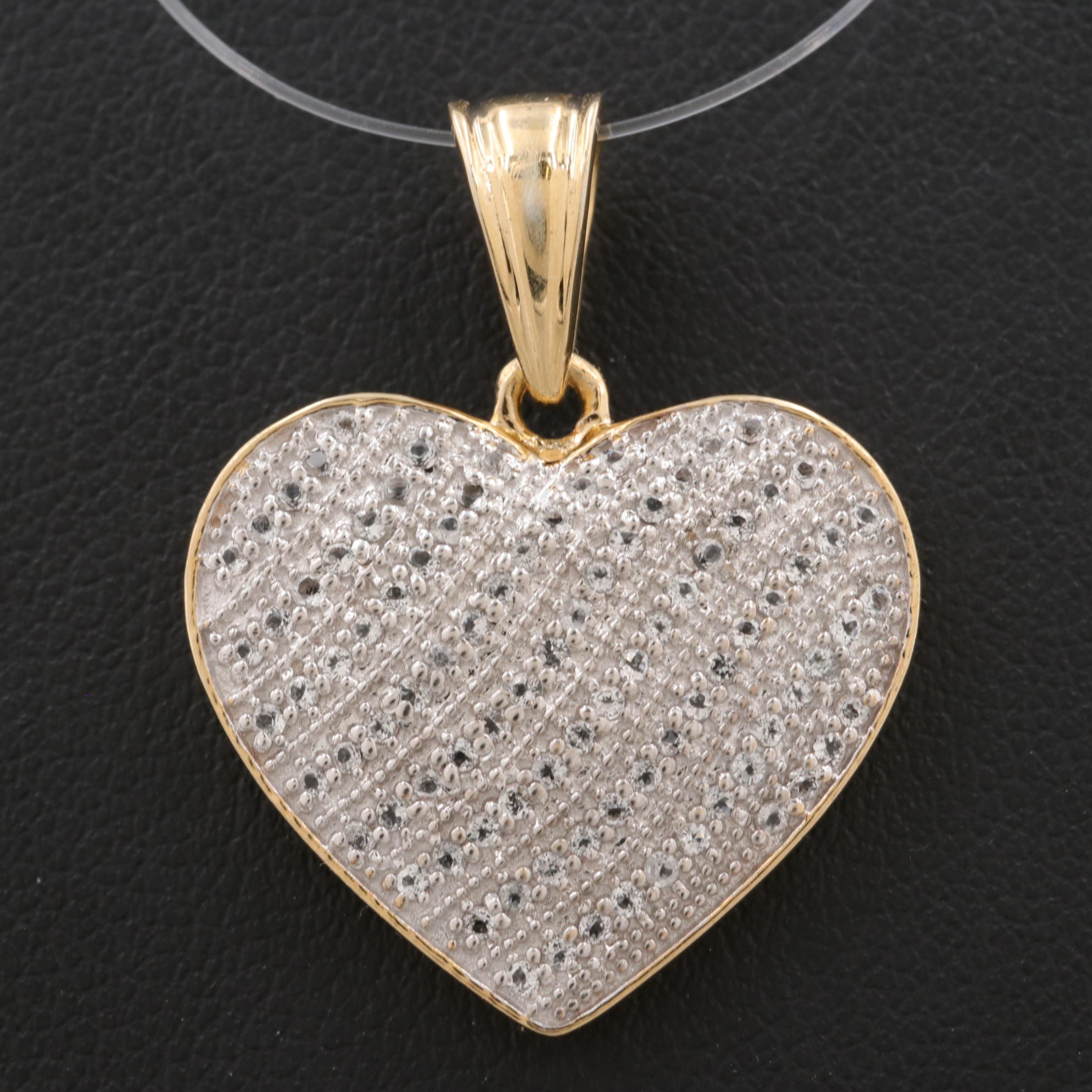 Gold Wash on Sterling Silver White Topaz Heart Pendant