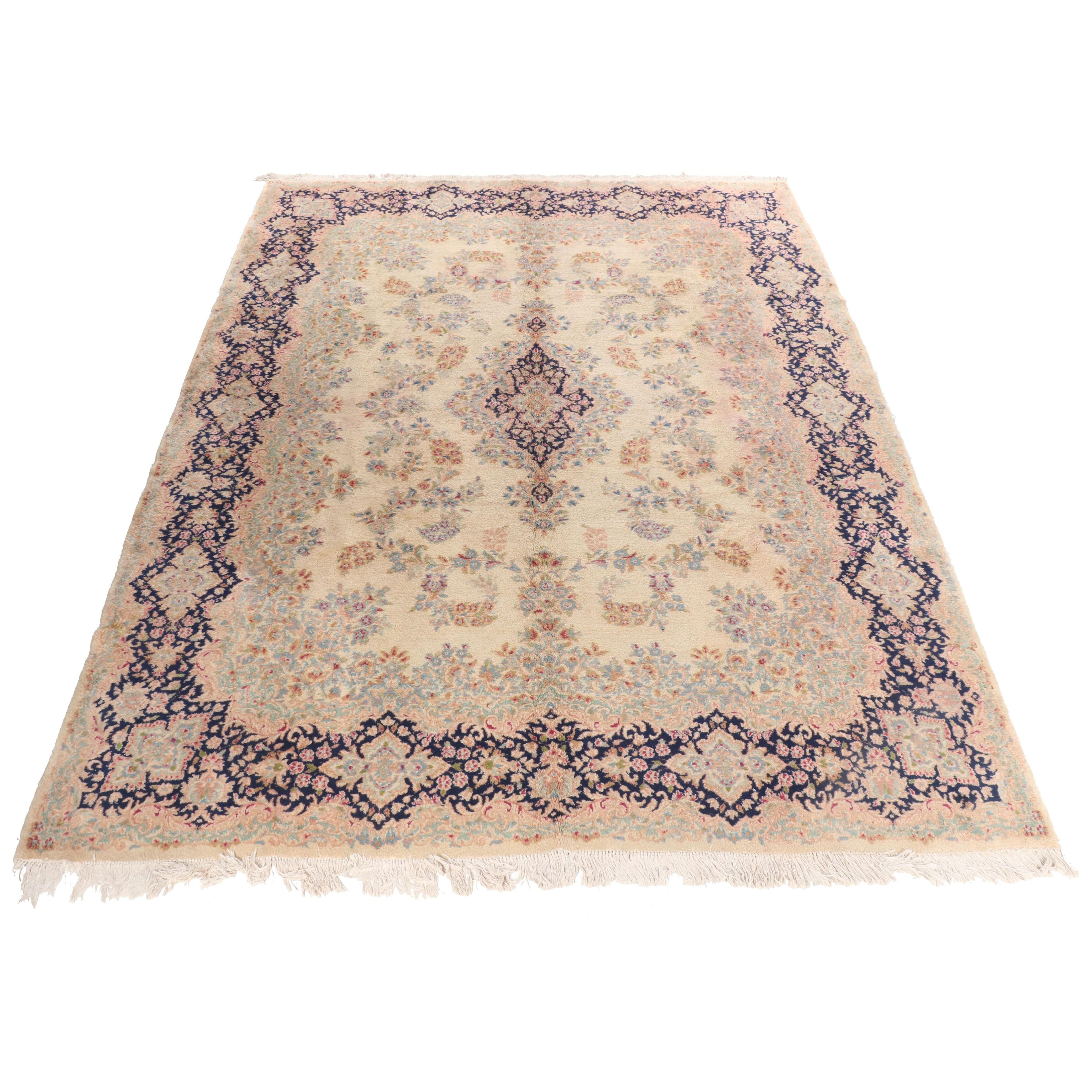Hand-Knotted Persian Kerman Wool Area Rug