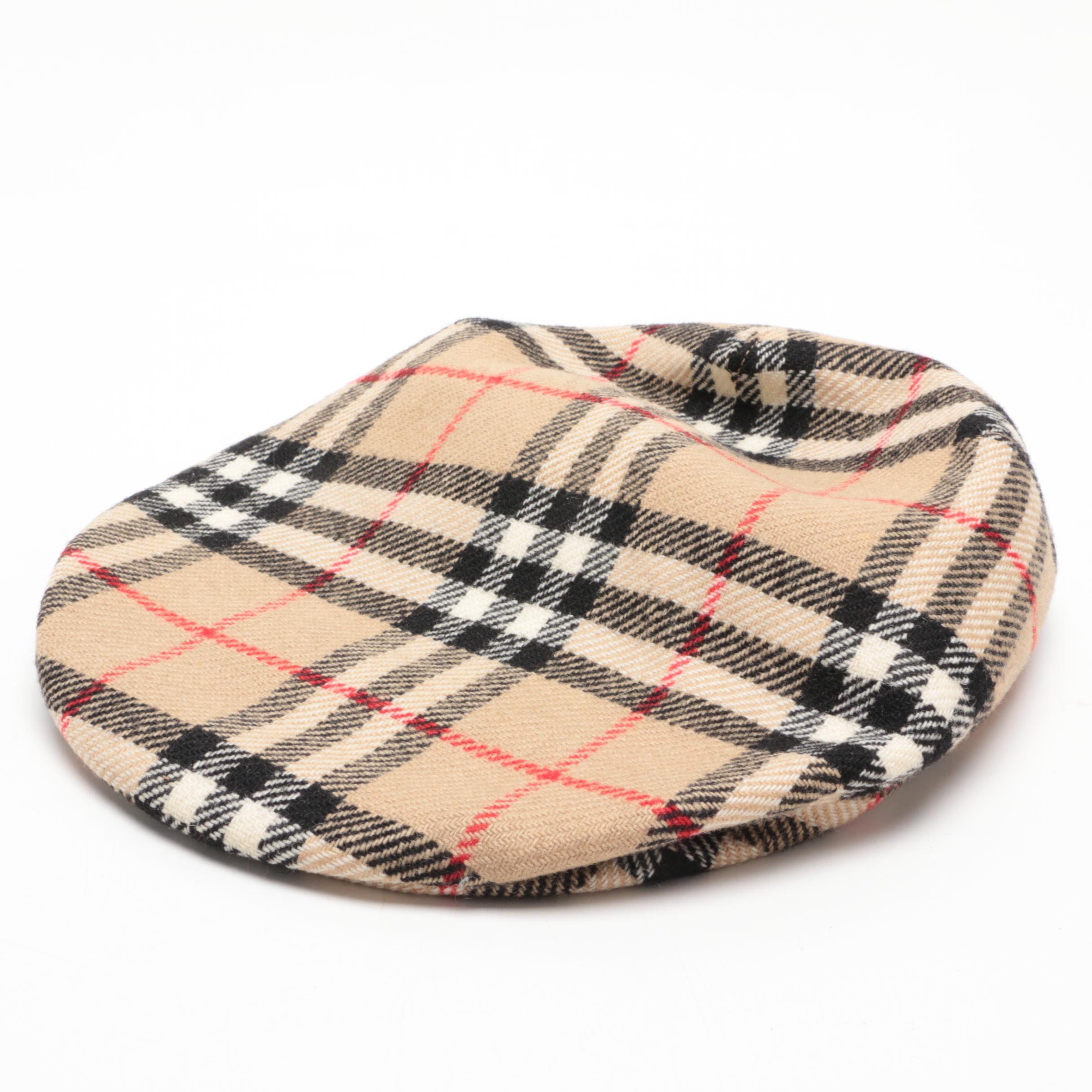 """Burberrys """"Nova Check"""" Wool Newsboy Hat, Vintage"""