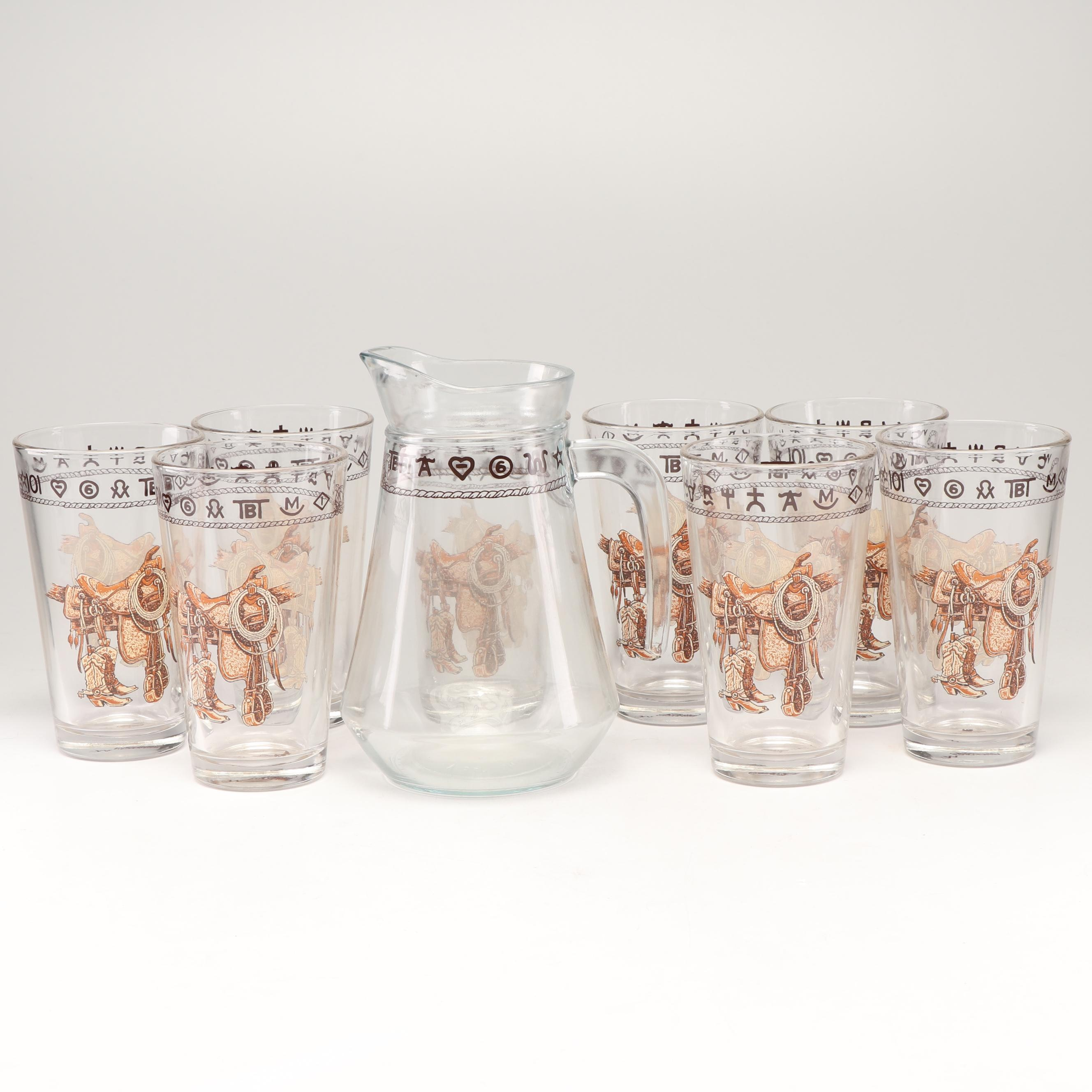 "Westward Ho ""Boots and Saddles"" Glassware with Pitcher"
