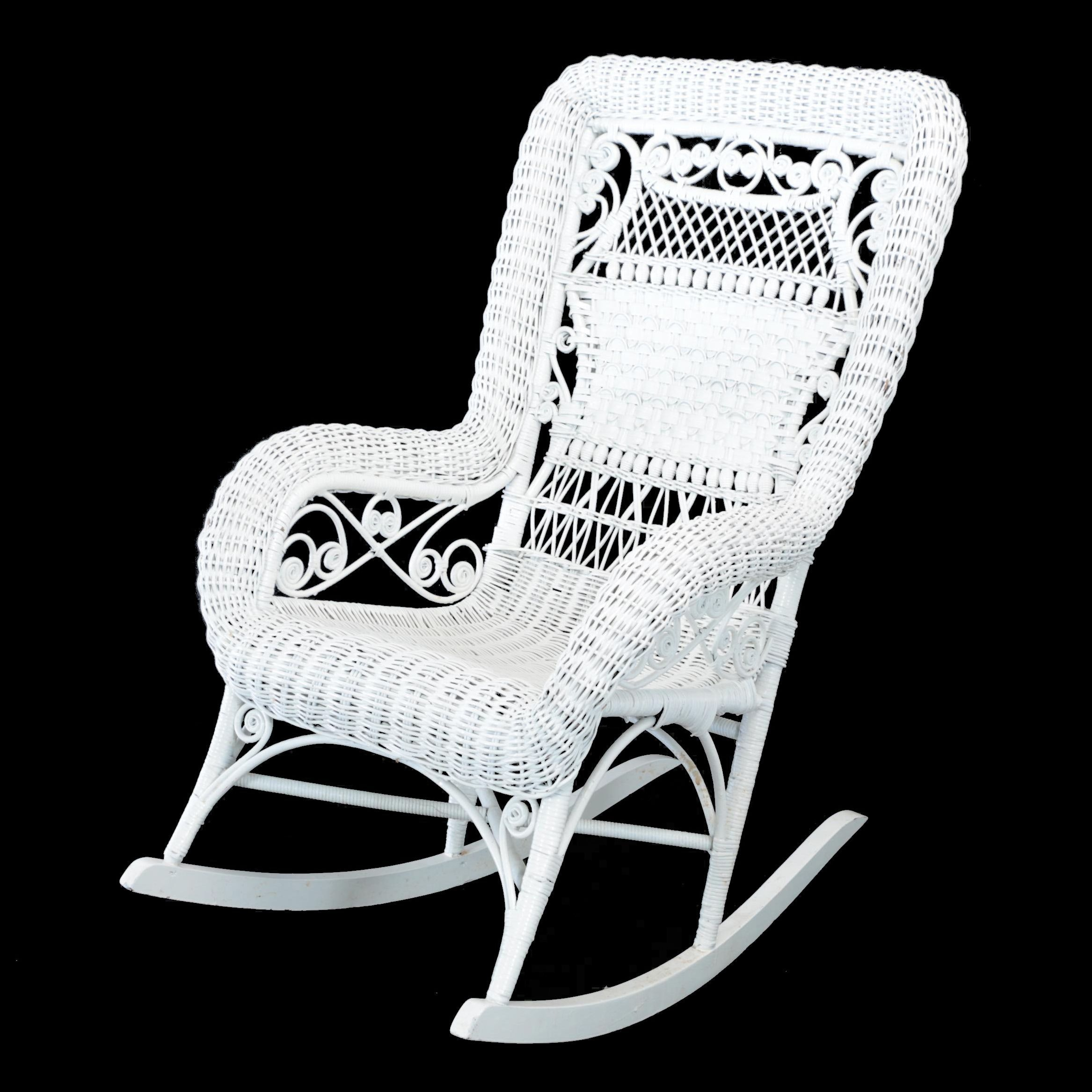 Late Victorian White Wicker Rocking Armchair, Late 19th/Early 20th Century
